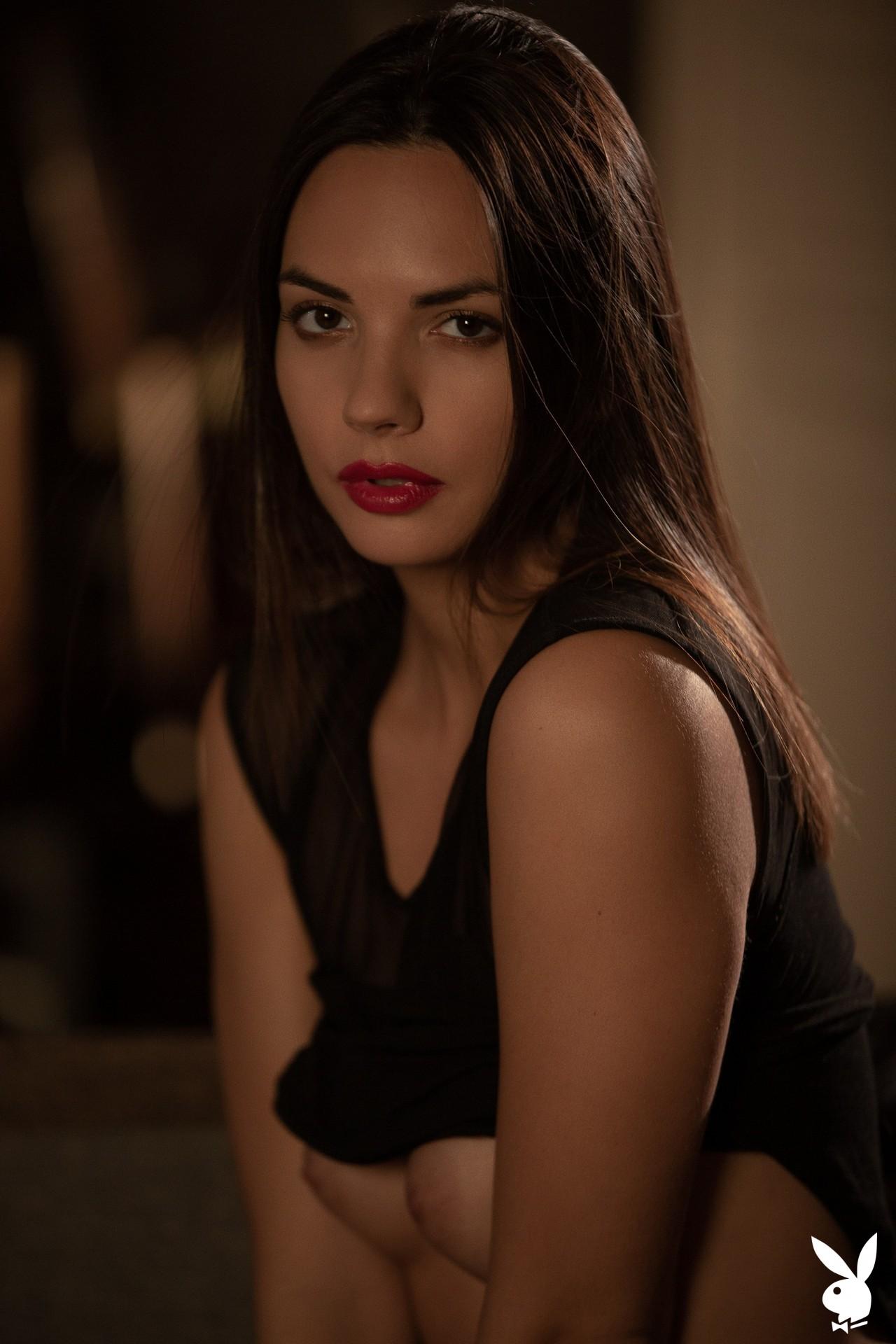 Flora Garai In Leather & Lipstick Playboy Plus (11)