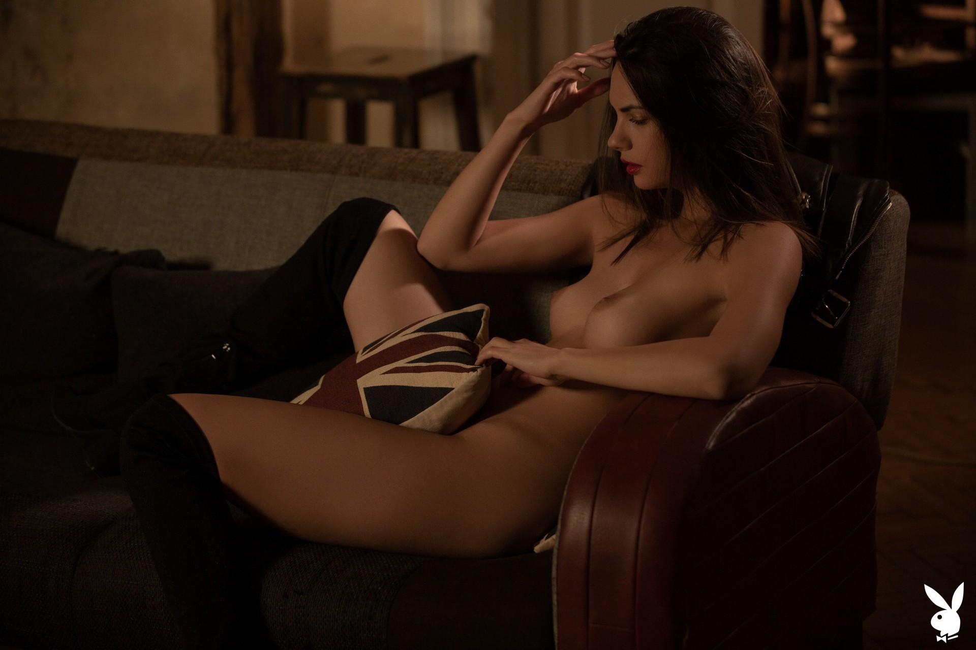 Flora Garai In Leather & Lipstick Playboy Plus (22)