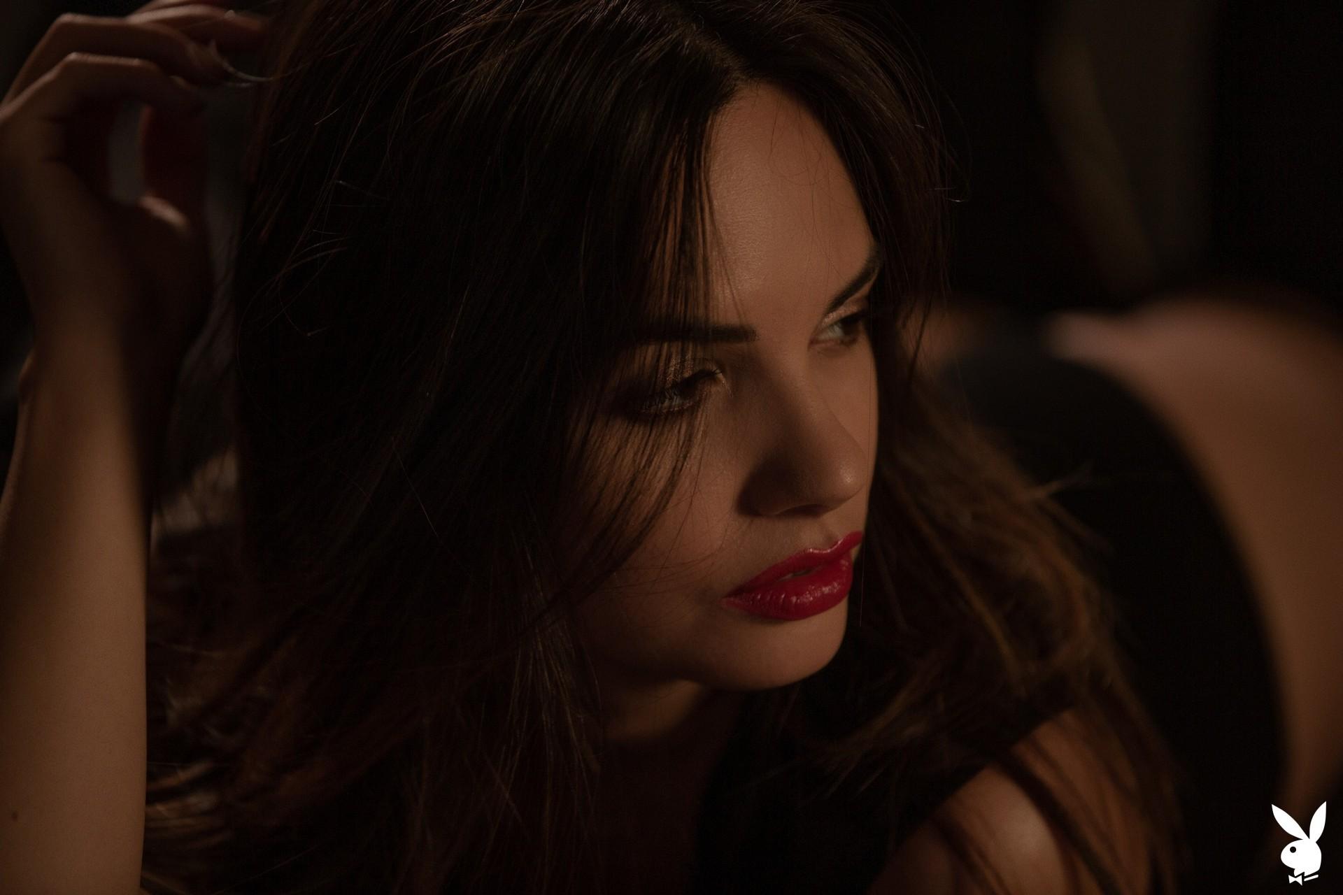 Flora Garai In Leather & Lipstick Playboy Plus (5)
