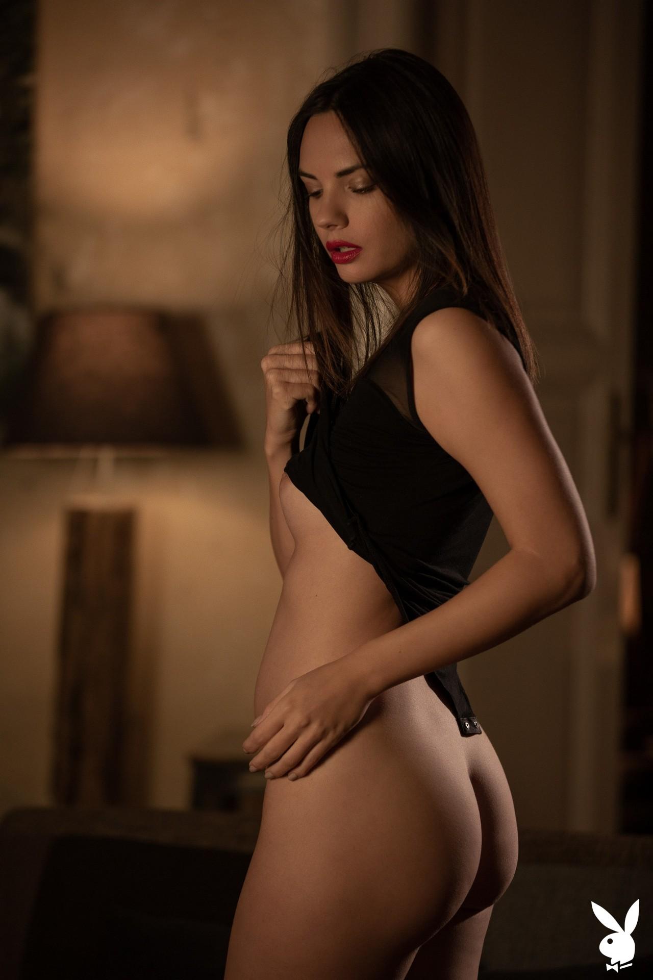 Flora Garai In Leather & Lipstick Playboy Plus (8)