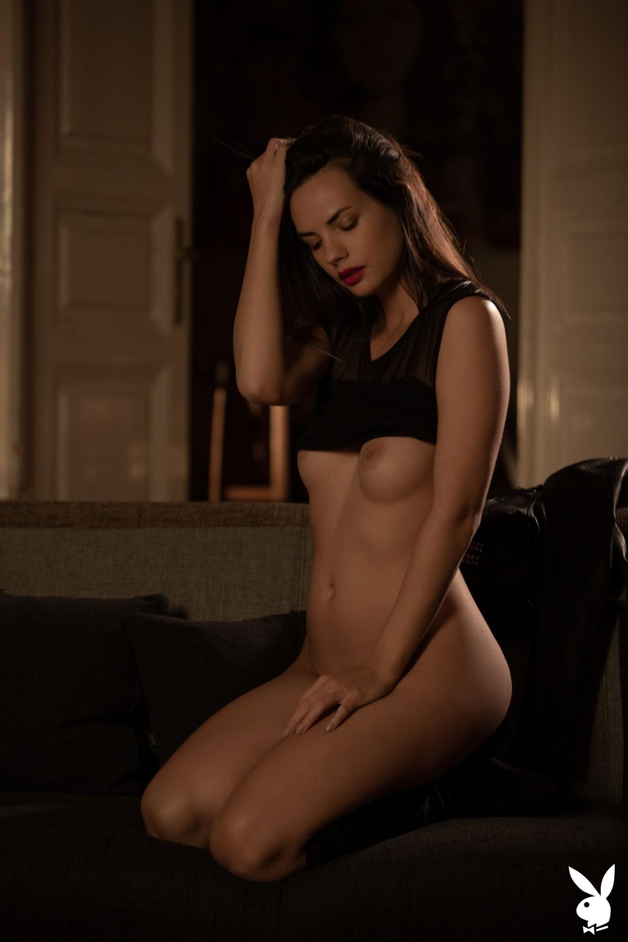 Flora Garai In Leather & Lipstick Playboy Plus (10)