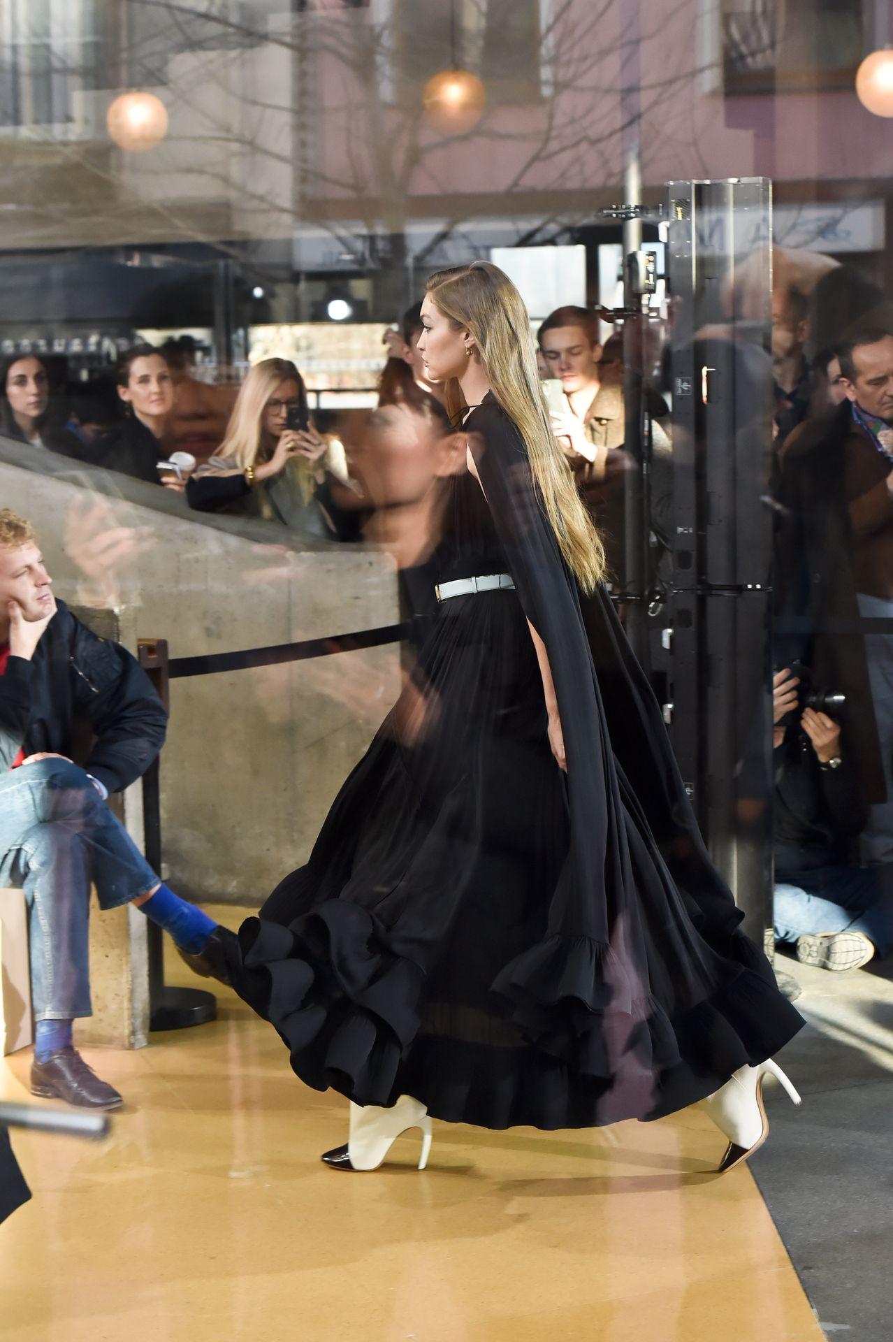 Gigi Hadid Seen Walking The Lanvin Catwalk In Paris 0005