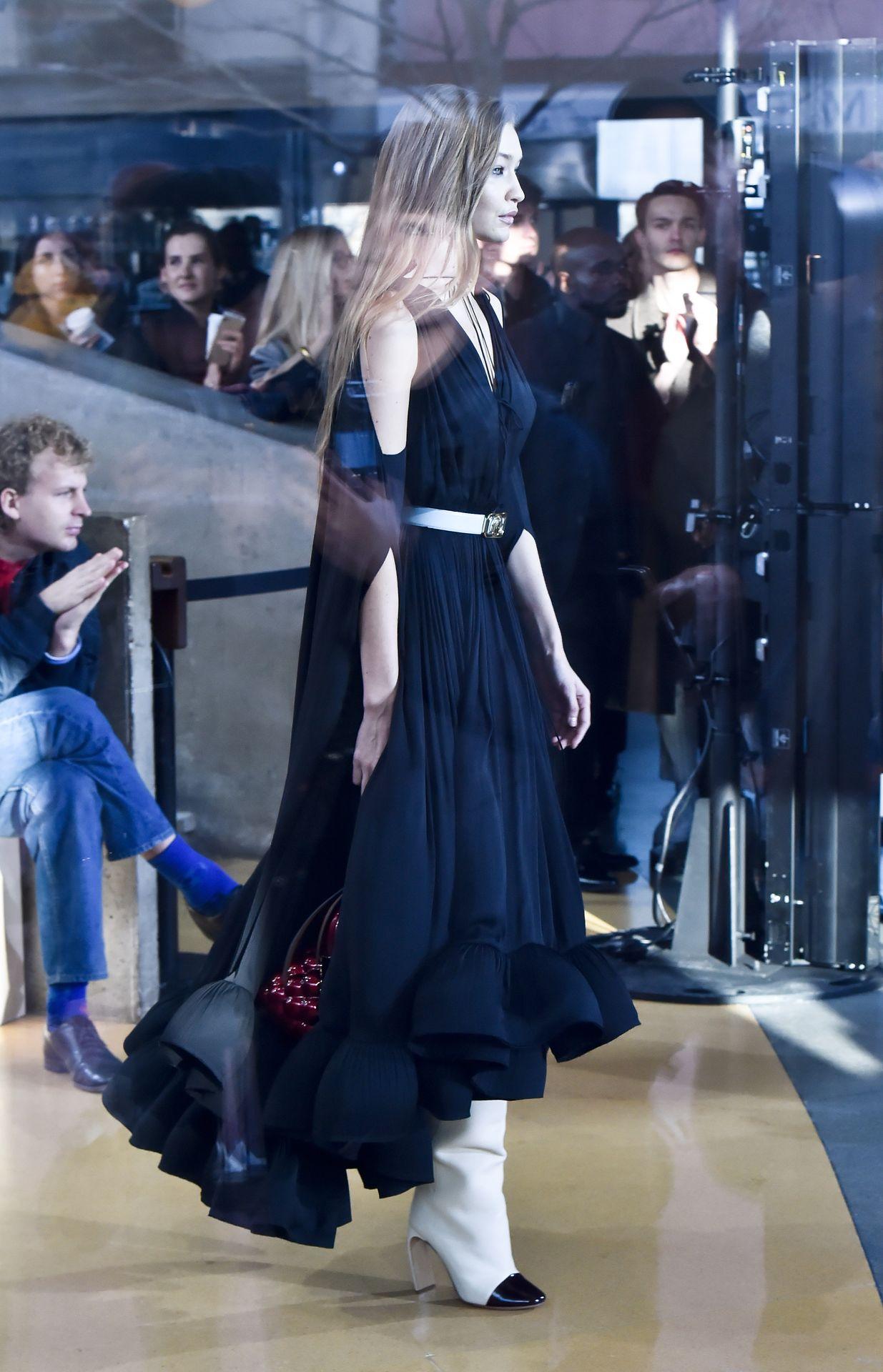 Gigi Hadid Seen Walking The Lanvin Catwalk In Paris 0006