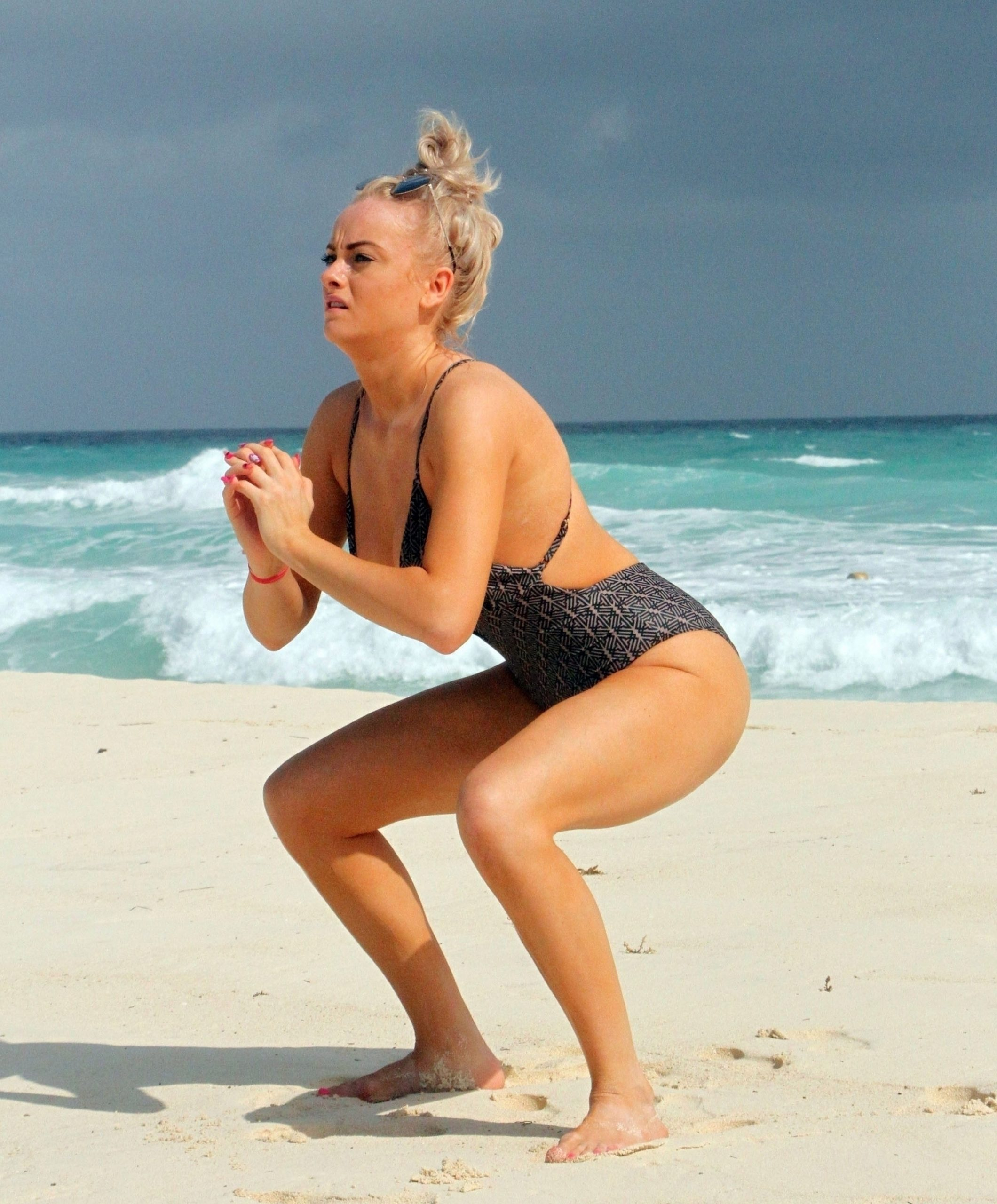 Katie Mcglynn Shows Off Her Sexy Body In A Black Swimsuit 0004