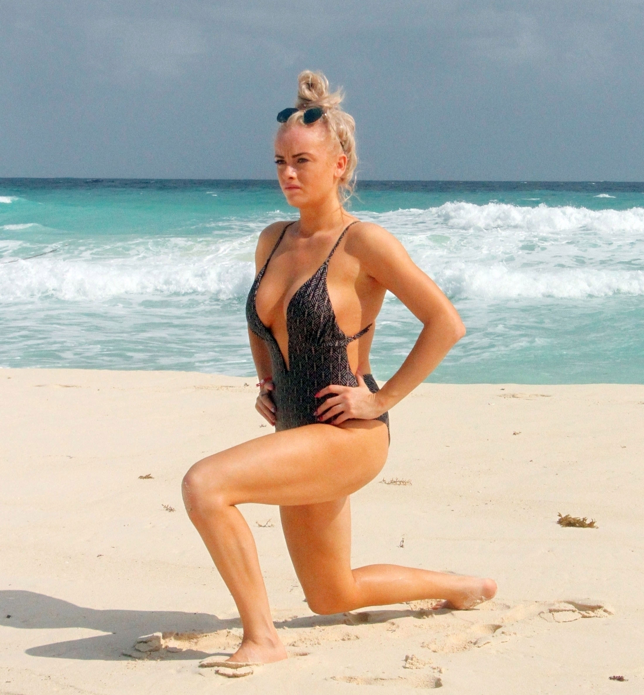 Katie Mcglynn Shows Off Her Sexy Body In A Black Swimsuit 0005