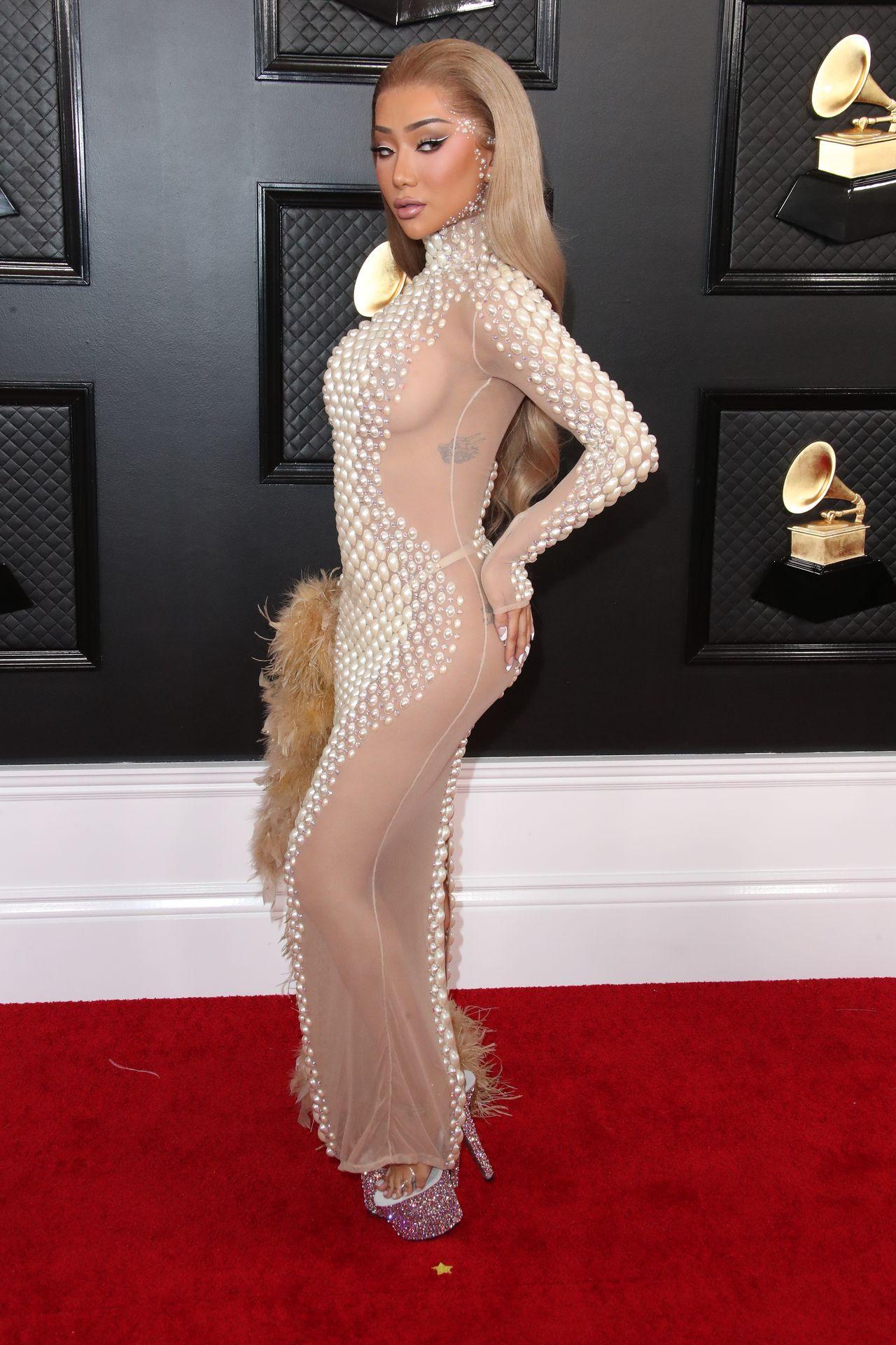 Nikita Dragun Rocks Sheer Dress On The 62nd Annual Grammy Awards Red Carpet 0003