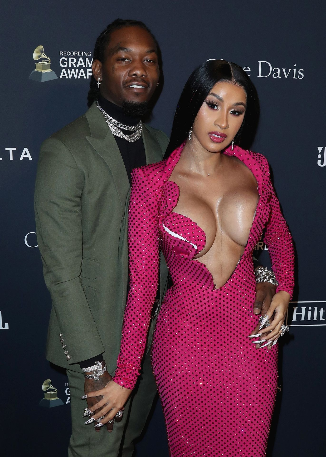 Offset Covers Cardi B's Boobs To Avoid Wardrobe Malfunction At Clive Davis Pre Grammy Party 0002