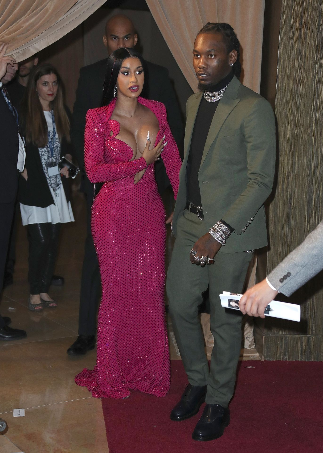 Offset Covers Cardi B's Boobs To Avoid Wardrobe Malfunction At Clive Davis Pre Grammy Party 0003