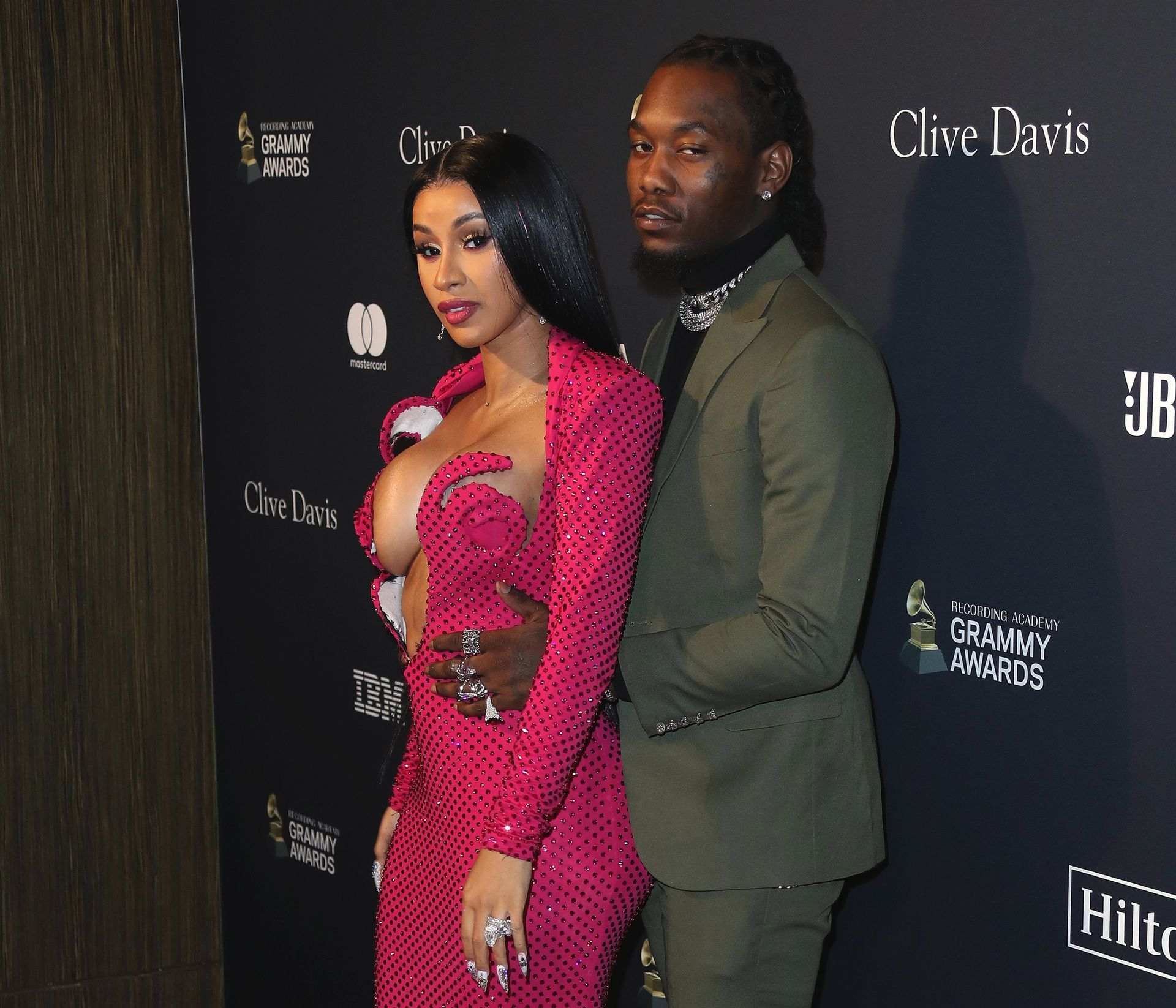 Offset Covers Cardi B's Boobs To Avoid Wardrobe Malfunction At Clive Davis Pre Grammy Party 0007