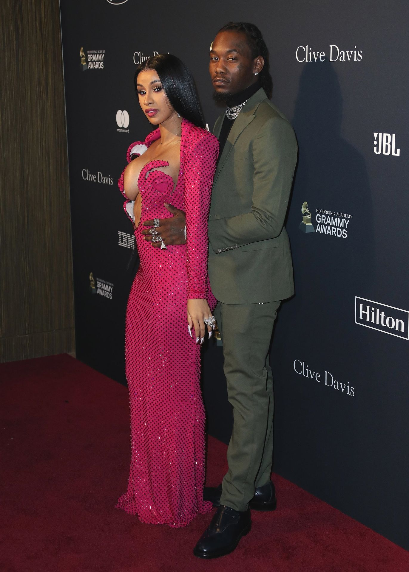 Offset Covers Cardi B's Boobs To Avoid Wardrobe Malfunction At Clive Davis Pre Grammy Party 0008