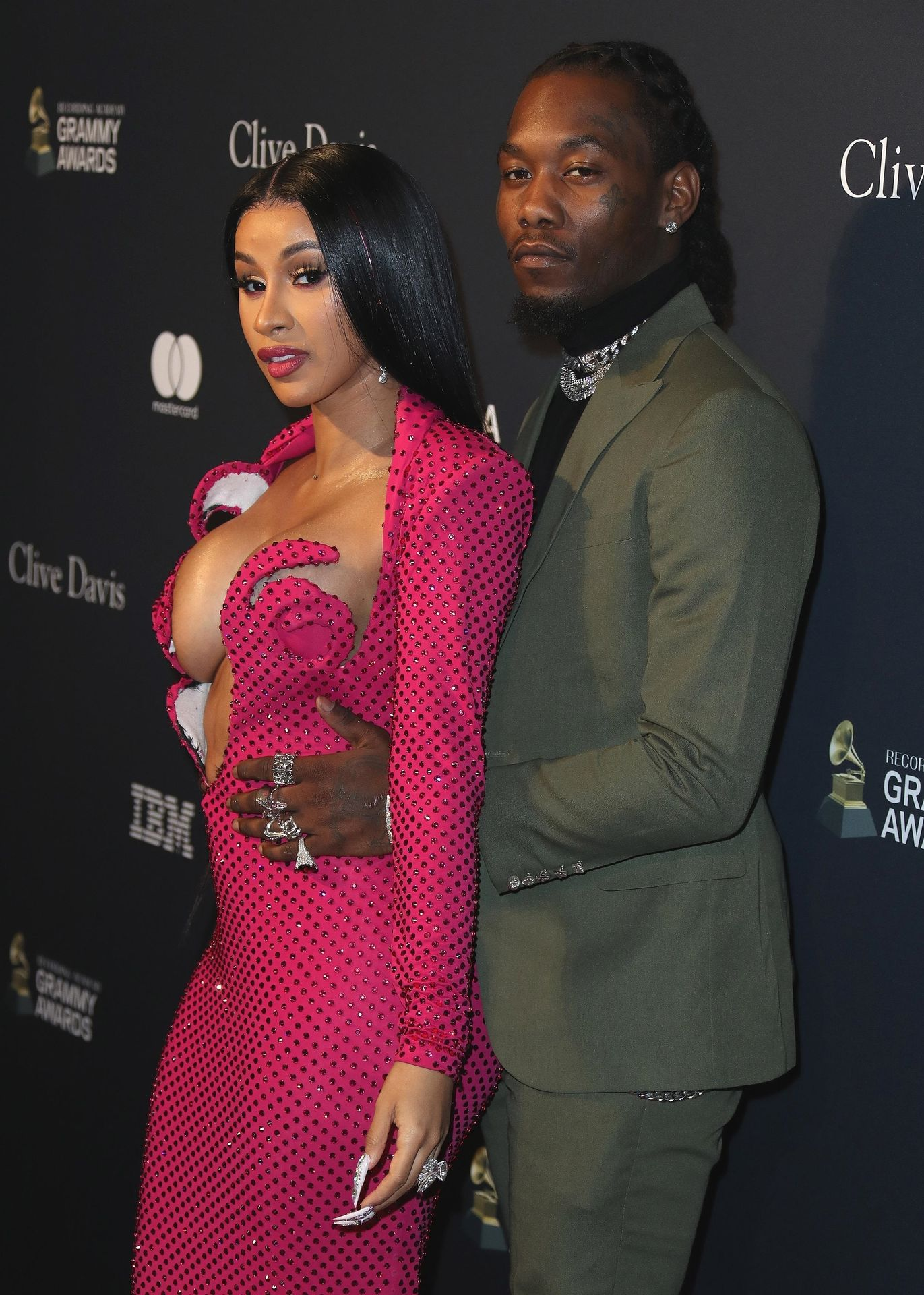 Offset Covers Cardi B's Boobs To Avoid Wardrobe Malfunction At Clive Davis Pre Grammy Party 0009