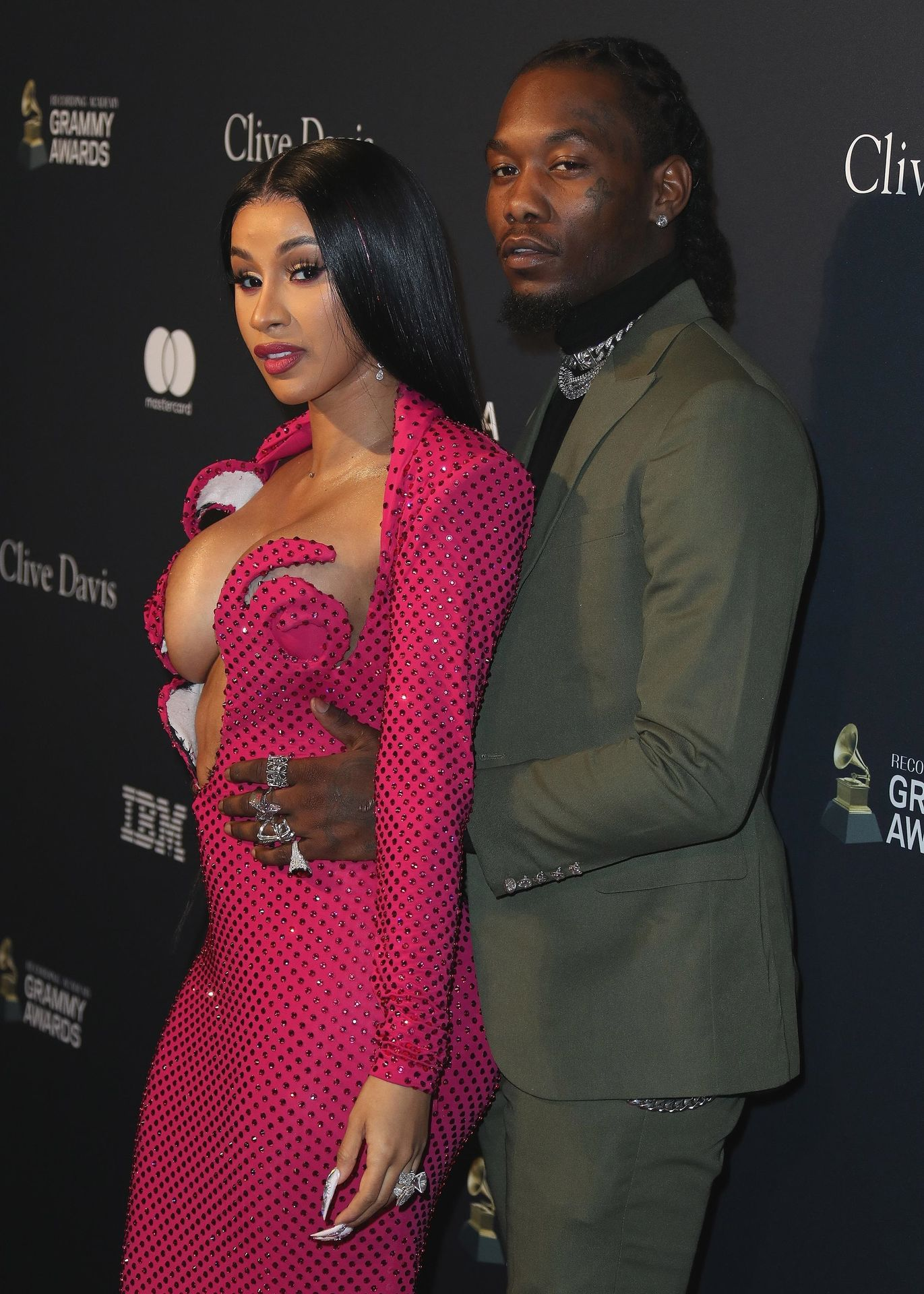Offset Covers Cardi B's Boobs To Avoid Wardrobe Malfunction At Clive Davis Pre Grammy Party 0011