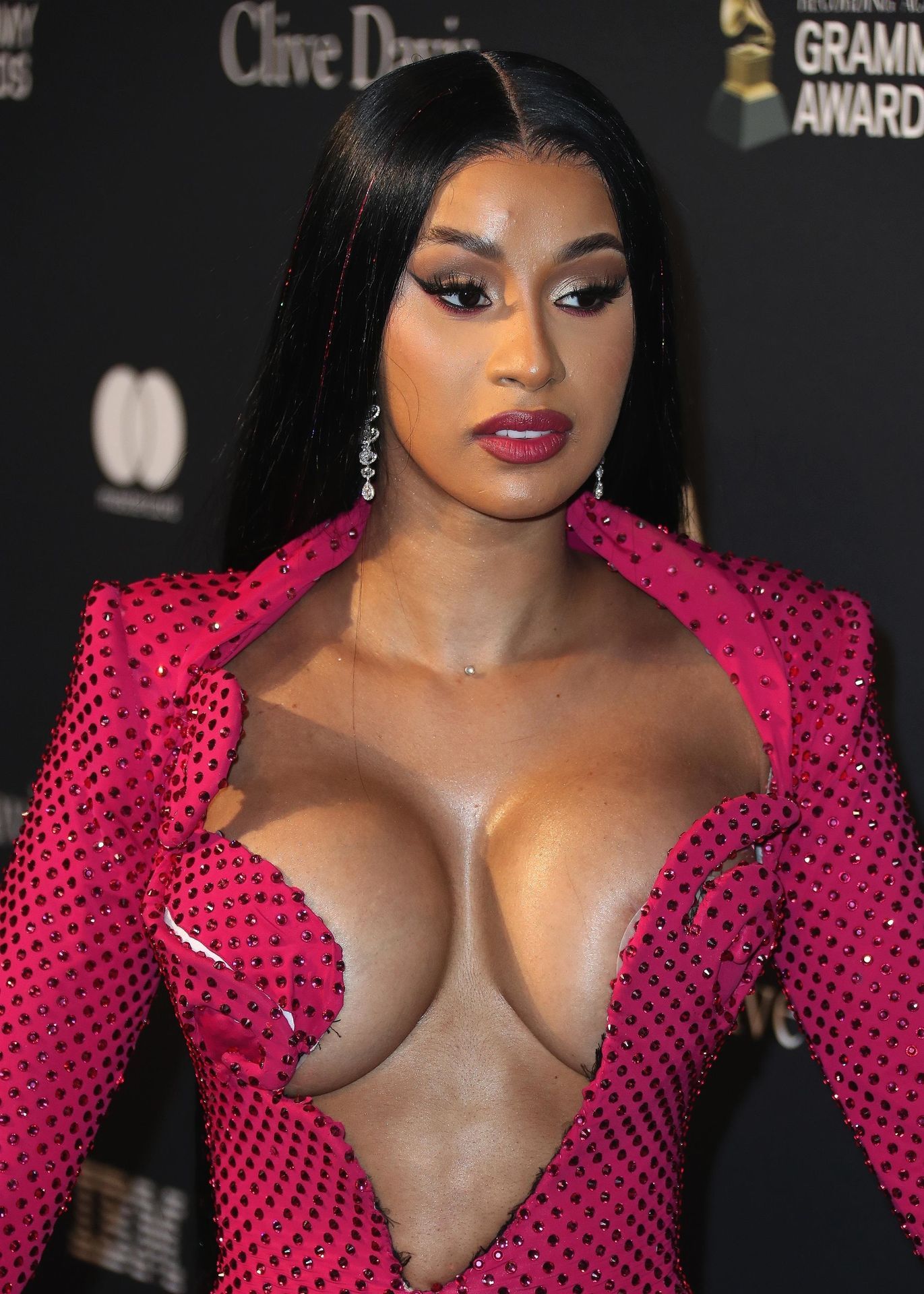 Offset Covers Cardi B's Boobs To Avoid Wardrobe Malfunction At Clive Davis Pre Grammy Party 0016