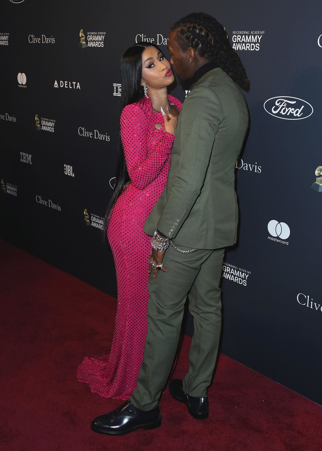 Offset Covers Cardi B's Boobs To Avoid Wardrobe Malfunction At Clive Davis Pre Grammy Party 0020