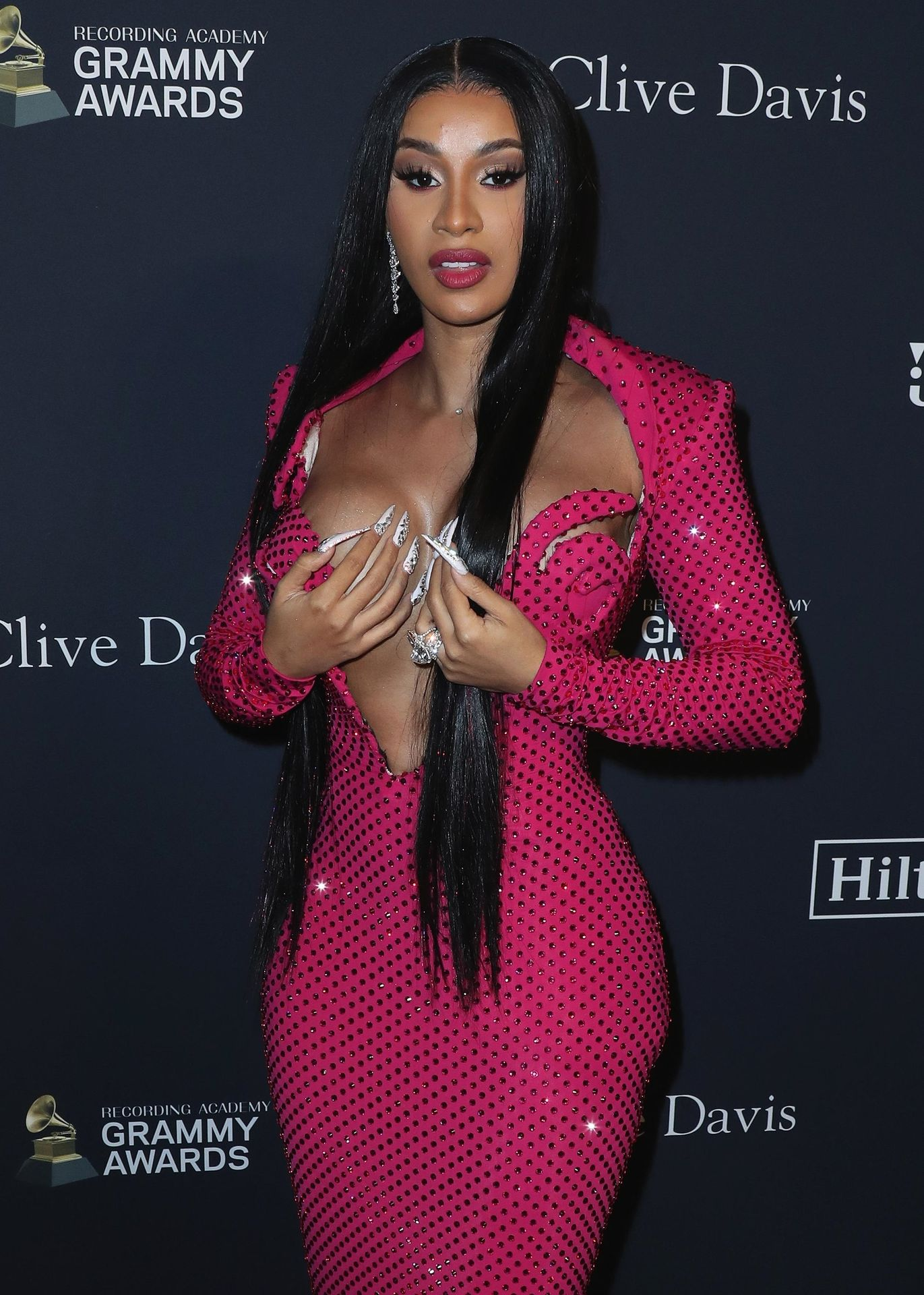Offset Covers Cardi B's Boobs To Avoid Wardrobe Malfunction At Clive Davis Pre Grammy Party 0026
