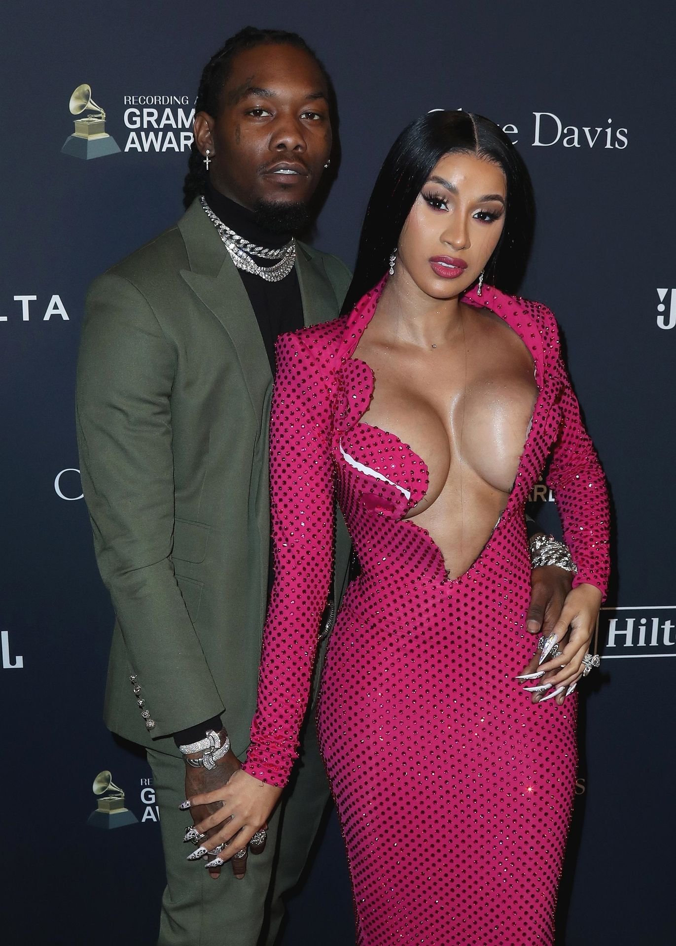 Offset Covers Cardi B's Boobs To Avoid Wardrobe Malfunction At Clive Davis Pre Grammy Party 0032
