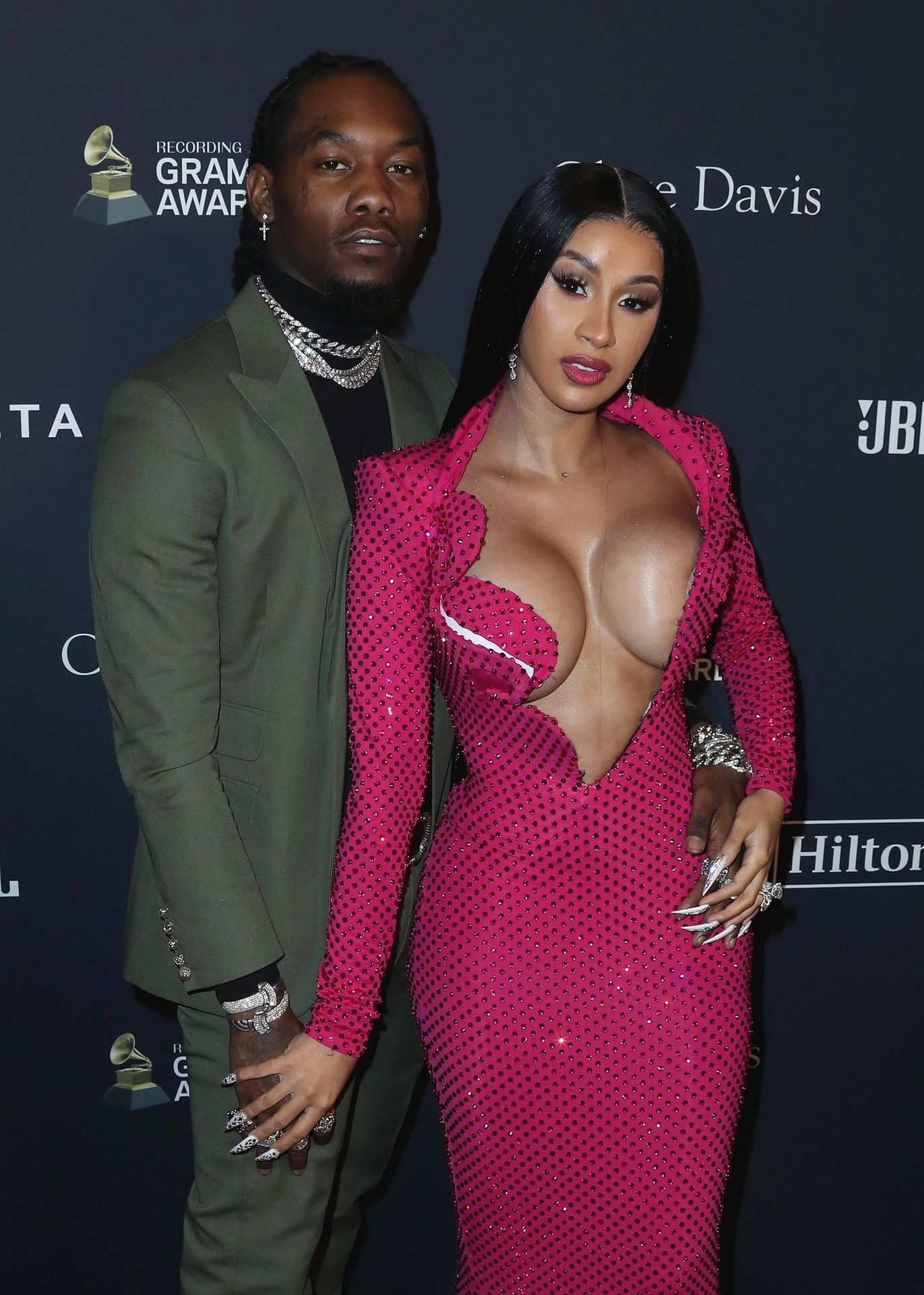 Offset Covers Cardi B's Boobs To Avoid Wardrobe Malfunction At Clive Davis Pre Grammy Party 0033