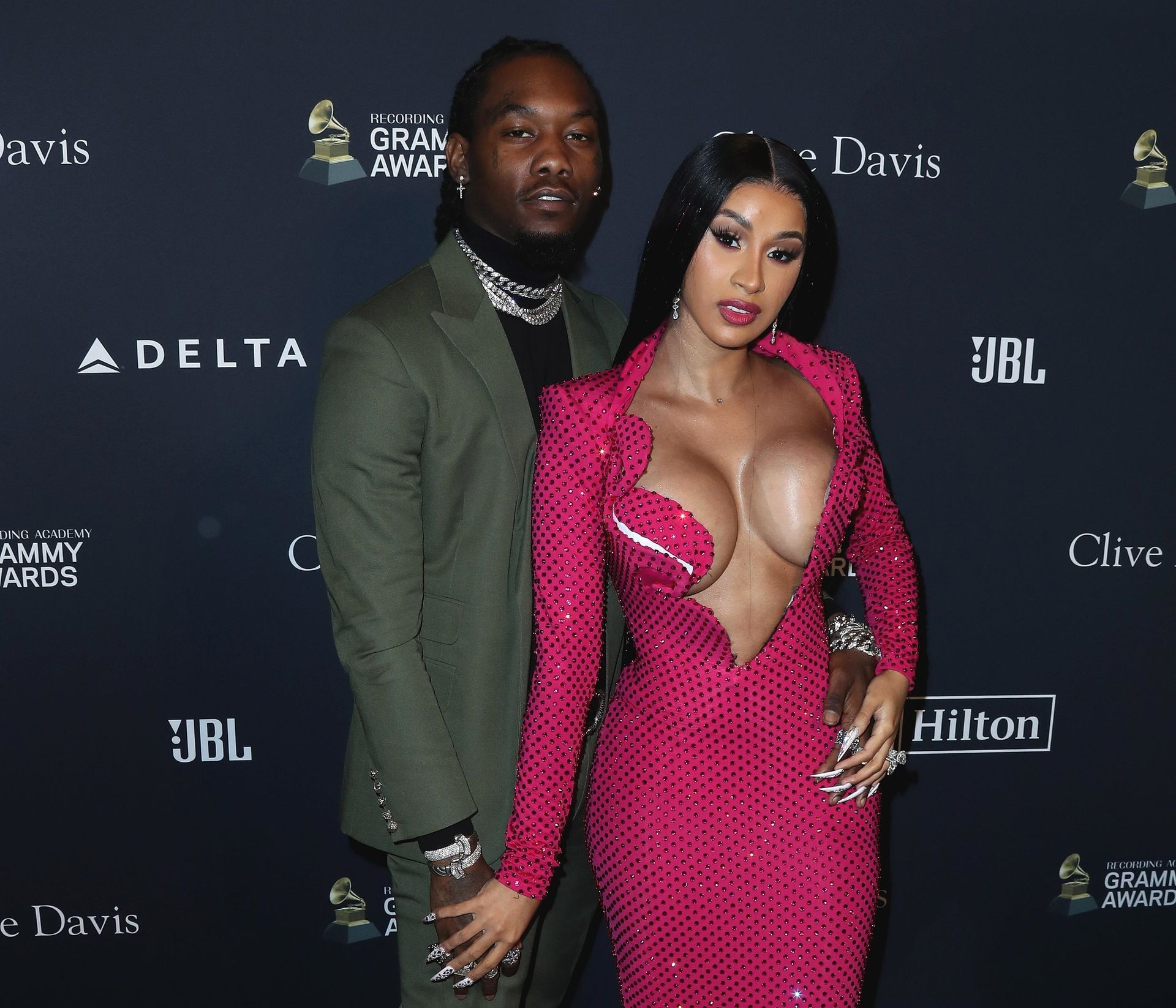 Offset Covers Cardi B's Boobs To Avoid Wardrobe Malfunction At Clive Davis Pre Grammy Party 0034