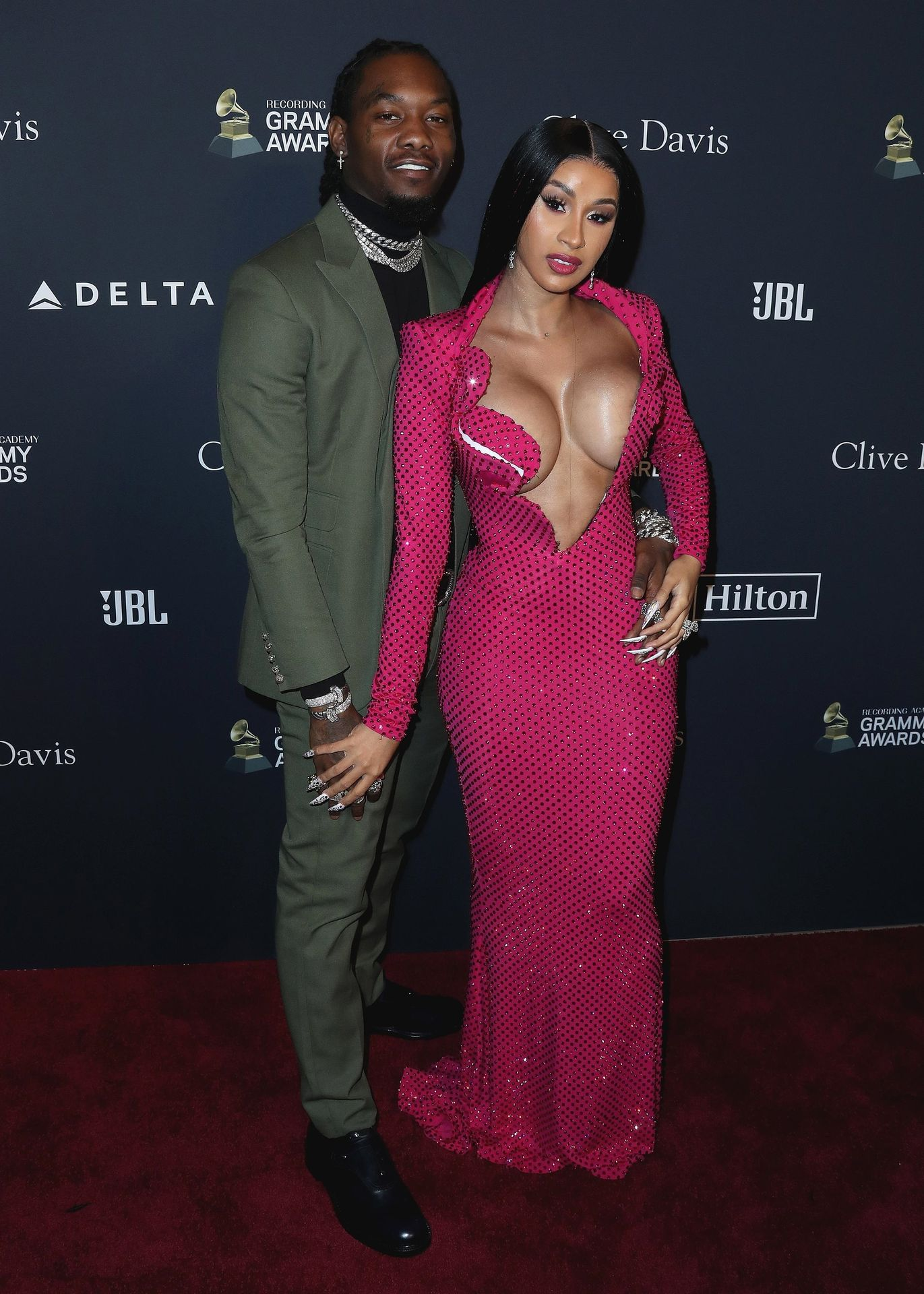 Offset Covers Cardi B's Boobs To Avoid Wardrobe Malfunction At Clive Davis Pre Grammy Party 0035