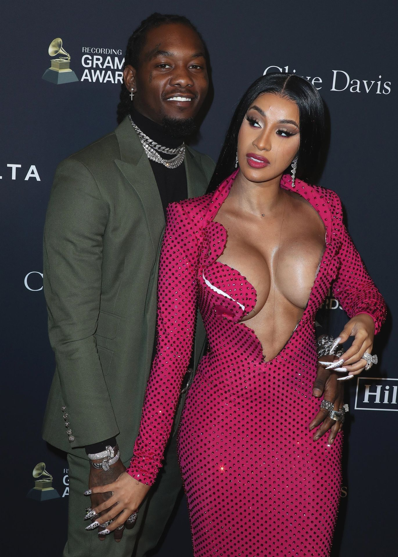 Offset Covers Cardi B's Boobs To Avoid Wardrobe Malfunction At Clive Davis Pre Grammy Party 0036