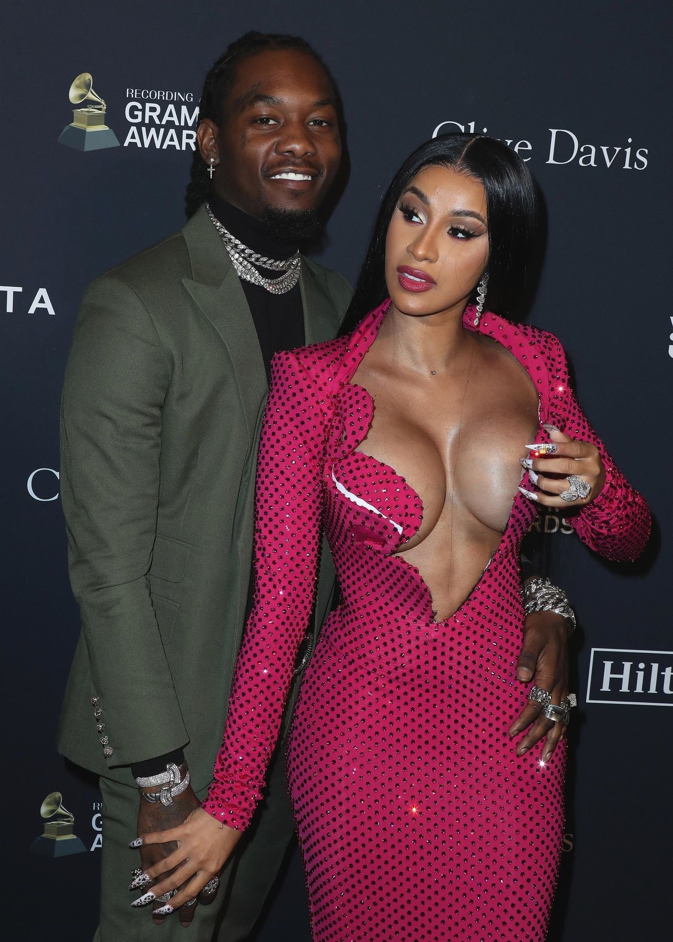 Offset Covers Cardi B's Boobs To Avoid Wardrobe Malfunction At Clive Davis Pre Grammy Party 0037