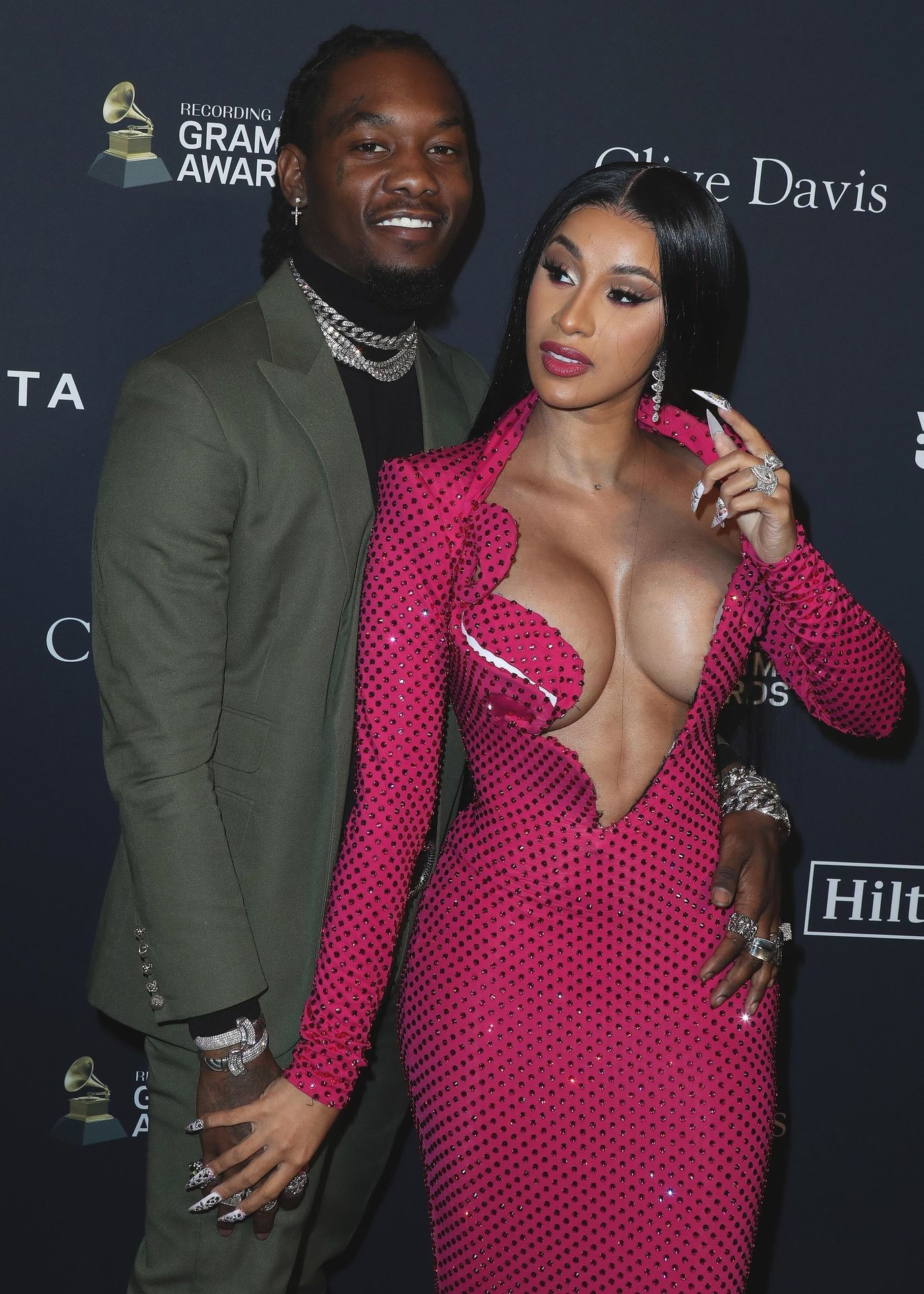 Offset Covers Cardi B's Boobs To Avoid Wardrobe Malfunction At Clive Davis Pre Grammy Party 0038