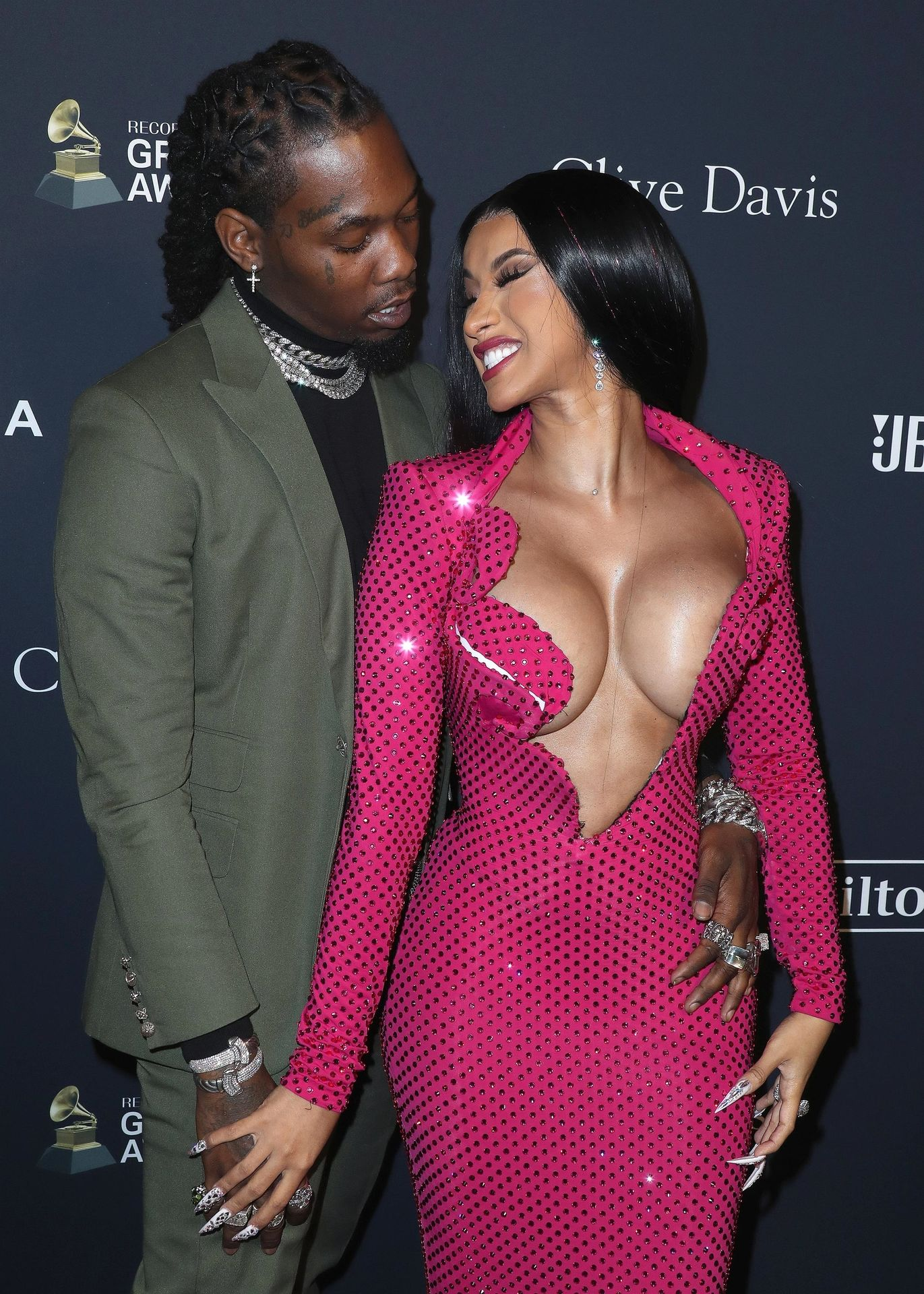 Offset Covers Cardi B's Boobs To Avoid Wardrobe Malfunction At Clive Davis Pre Grammy Party 0040