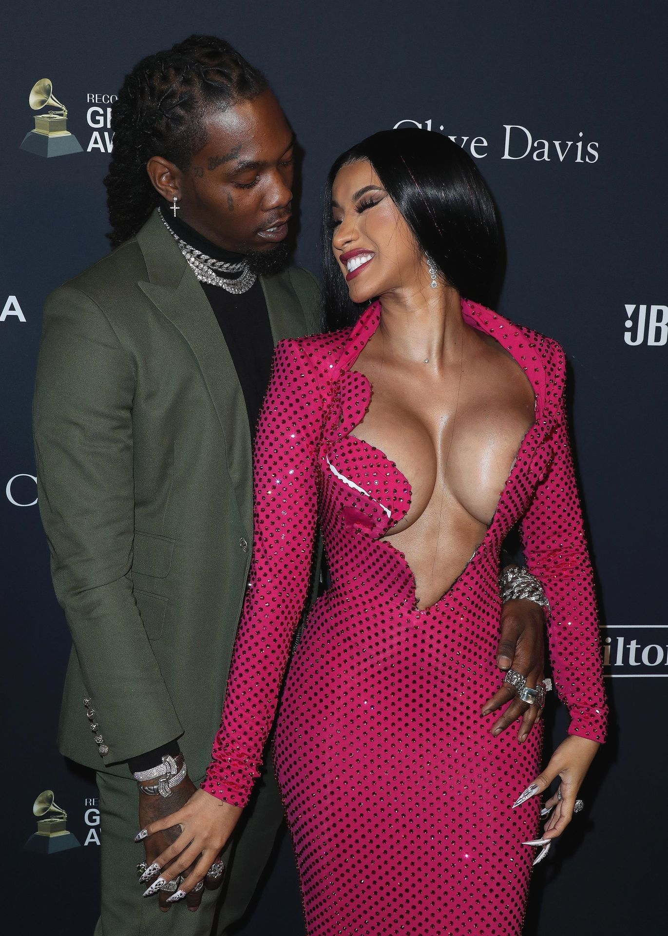 Offset Covers Cardi B's Boobs To Avoid Wardrobe Malfunction At Clive Davis Pre Grammy Party 0041