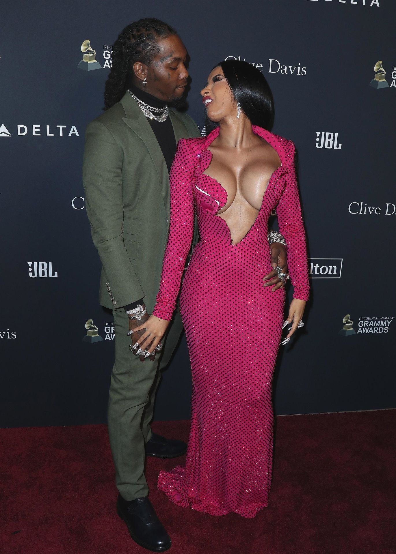 Offset Covers Cardi B's Boobs To Avoid Wardrobe Malfunction At Clive Davis Pre Grammy Party 0042