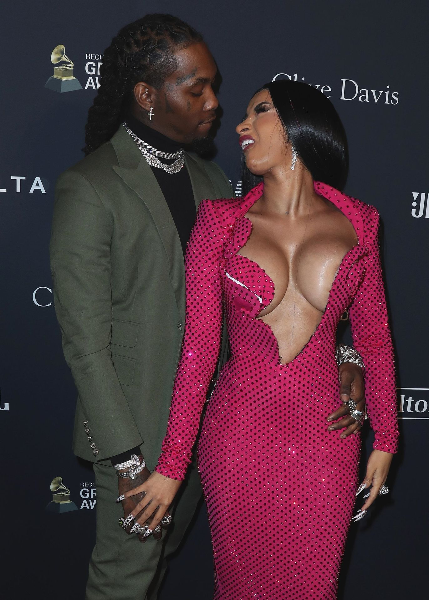 Offset Covers Cardi B's Boobs To Avoid Wardrobe Malfunction At Clive Davis Pre Grammy Party 0043