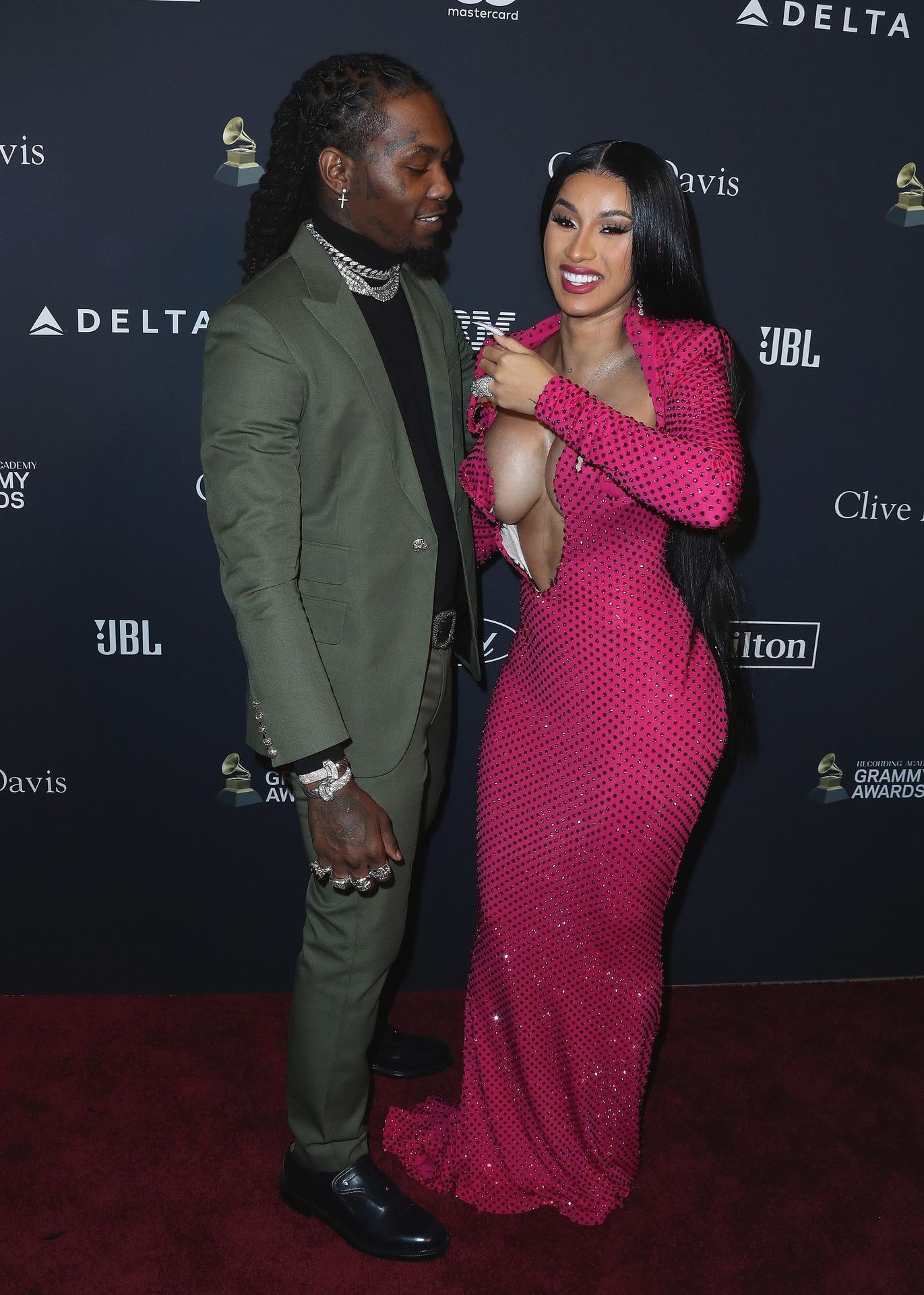 Offset Covers Cardi B's Boobs To Avoid Wardrobe Malfunction At Clive Davis Pre Grammy Party 0045