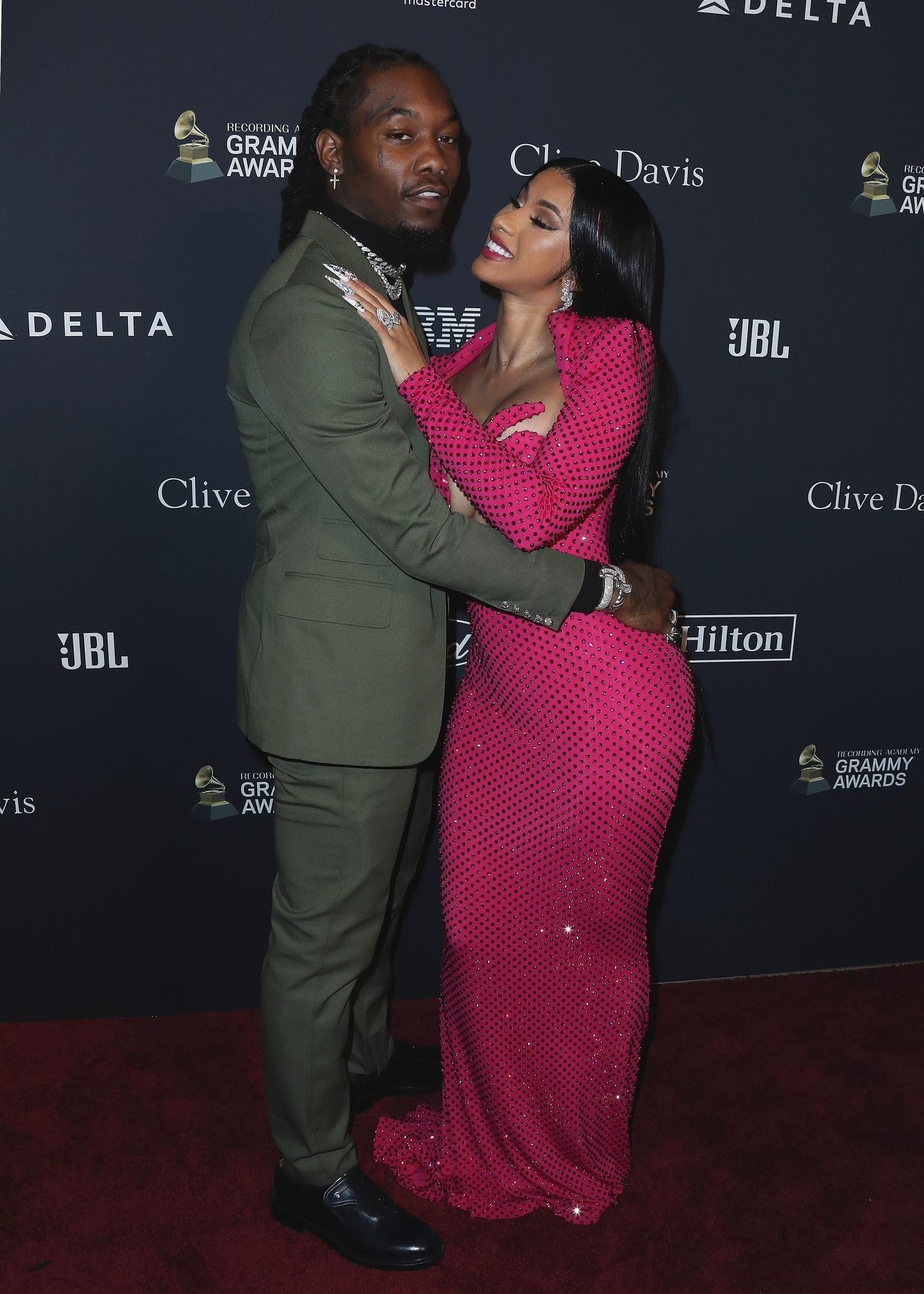 Offset Covers Cardi B's Boobs To Avoid Wardrobe Malfunction At Clive Davis Pre Grammy Party 0046
