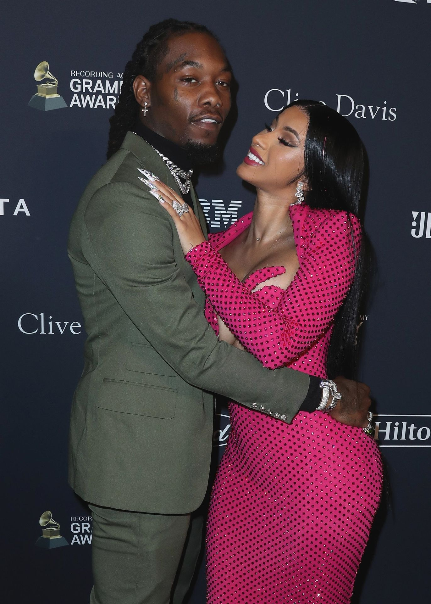 Offset Covers Cardi B's Boobs To Avoid Wardrobe Malfunction At Clive Davis Pre Grammy Party 0047