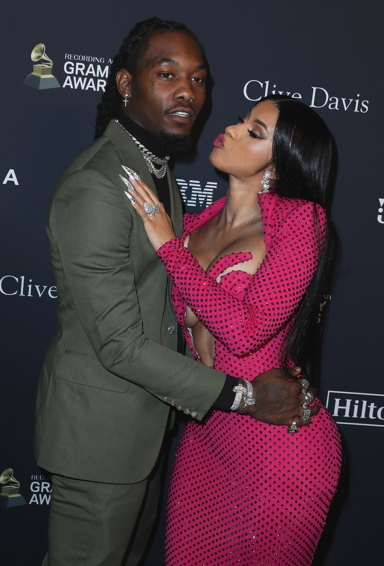 Offset Covers Cardi B's Boobs To Avoid Wardrobe Malfunction At Clive Davis Pre Grammy Party 0049