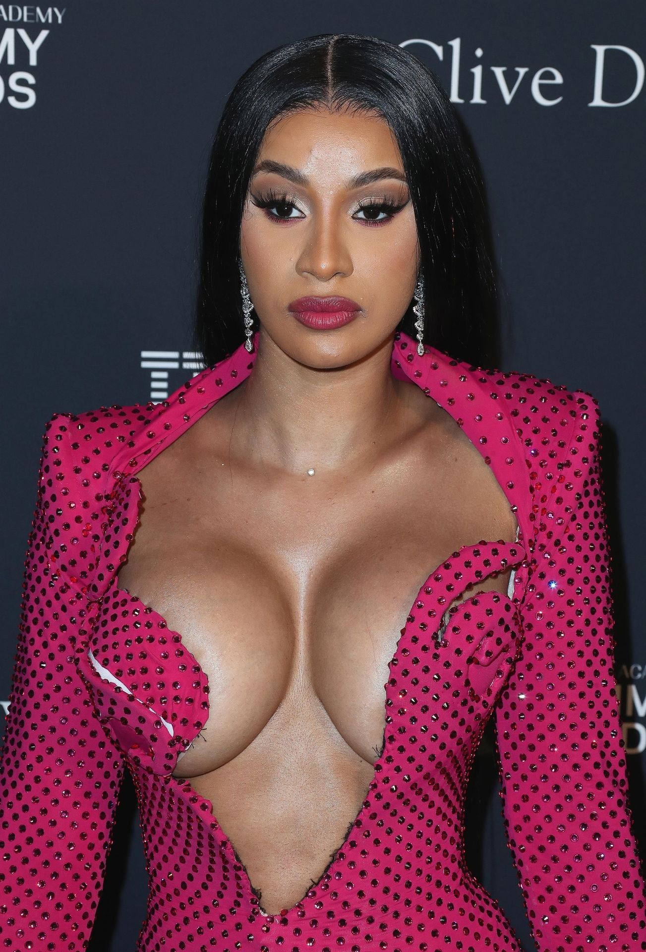 Offset Covers Cardi B's Boobs To Avoid Wardrobe Malfunction At Clive Davis Pre Grammy Party 0055