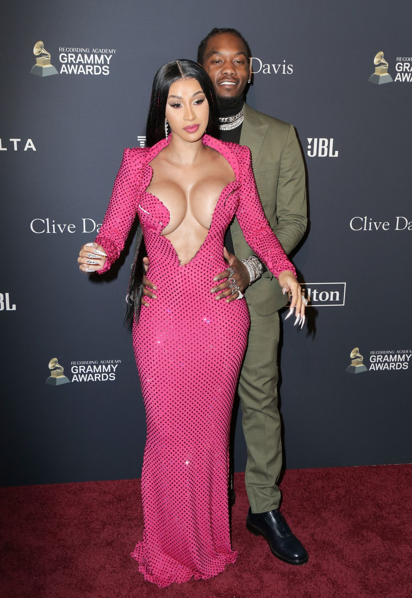 Offset Covers Cardi B's Boobs To Avoid Wardrobe Malfunction At Clive Davis Pre Grammy Party 0068