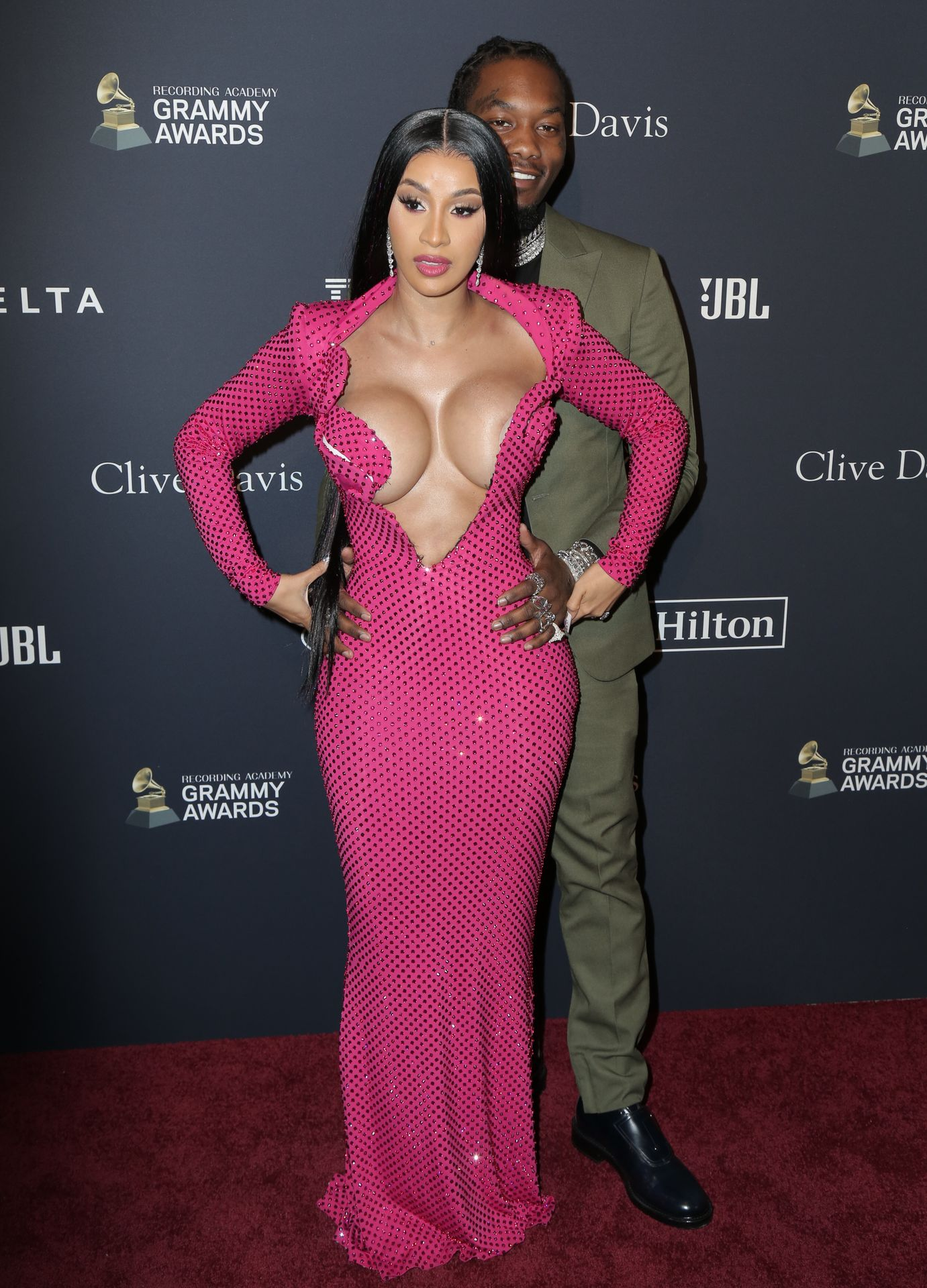 Offset Covers Cardi B's Boobs To Avoid Wardrobe Malfunction At Clive Davis Pre Grammy Party 0069