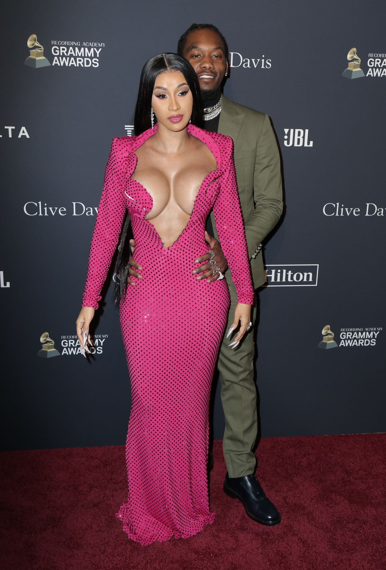 Offset Covers Cardi B's Boobs To Avoid Wardrobe Malfunction At Clive Davis Pre Grammy Party 0070