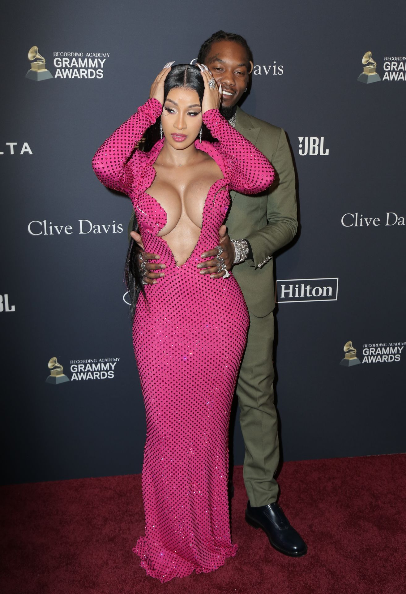 Offset Covers Cardi B's Boobs To Avoid Wardrobe Malfunction At Clive Davis Pre Grammy Party 0072