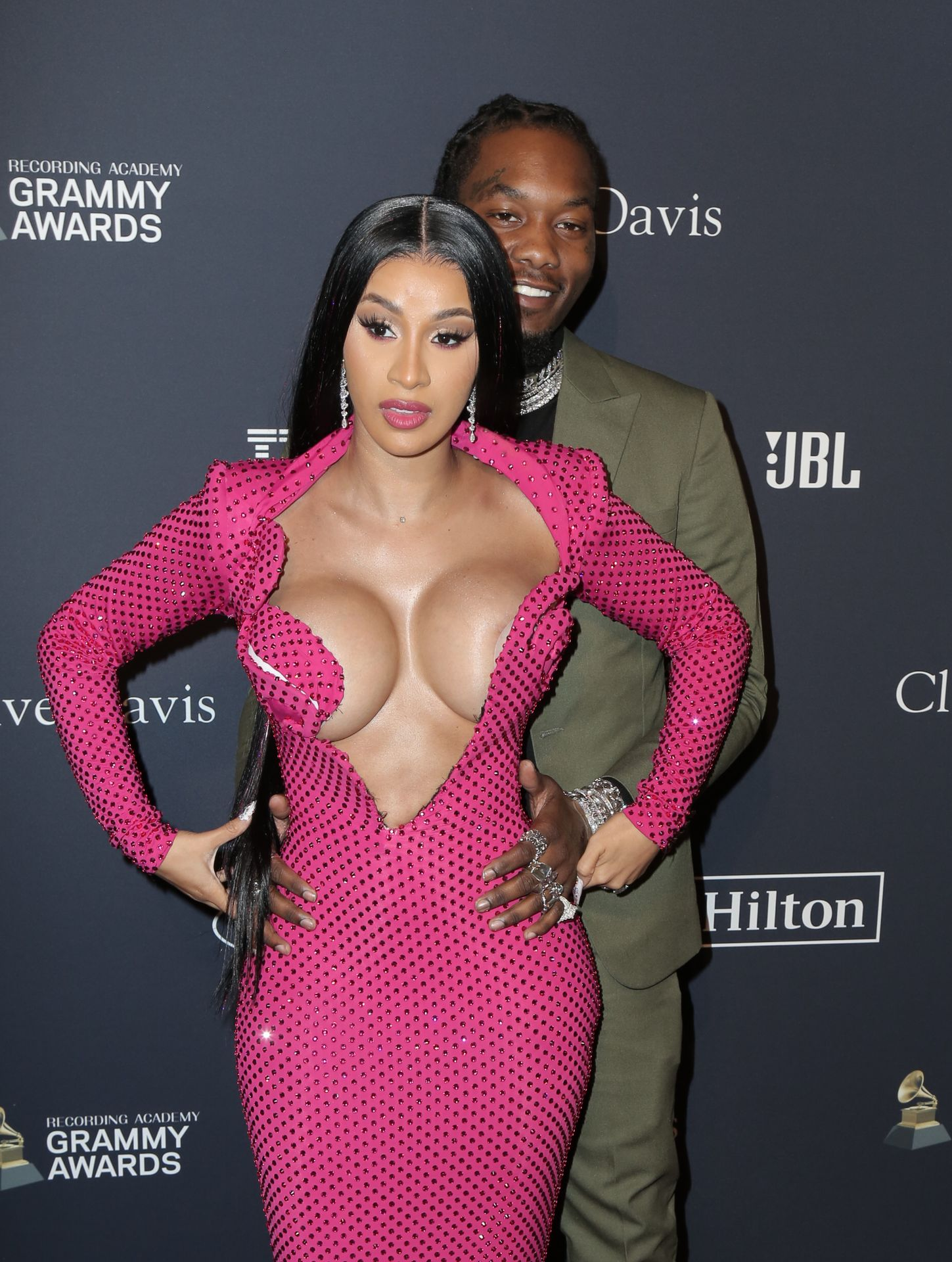 Offset Covers Cardi B's Boobs To Avoid Wardrobe Malfunction At Clive Davis Pre Grammy Party 0073