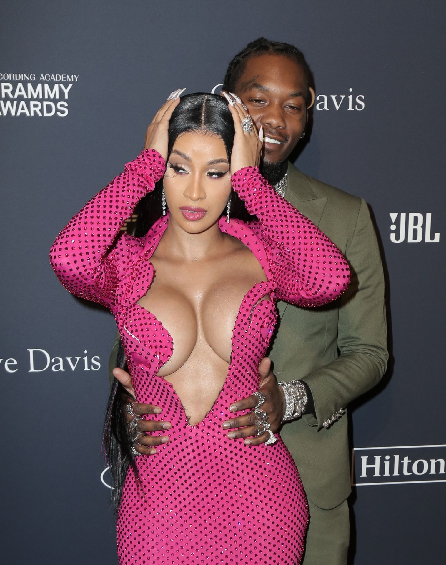 Offset Covers Cardi B's Boobs To Avoid Wardrobe Malfunction At Clive Davis Pre Grammy Party 0074