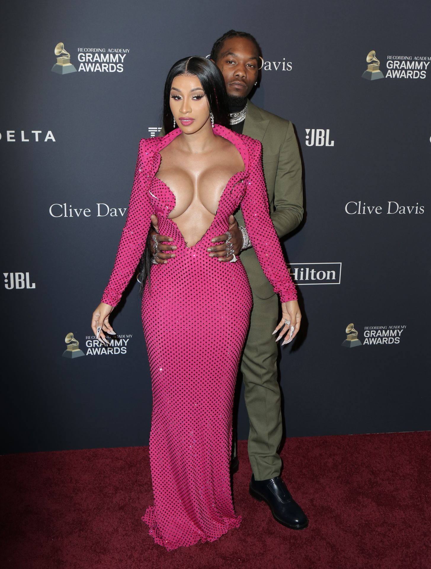 Offset Covers Cardi B's Boobs To Avoid Wardrobe Malfunction At Clive Davis Pre Grammy Party 0075