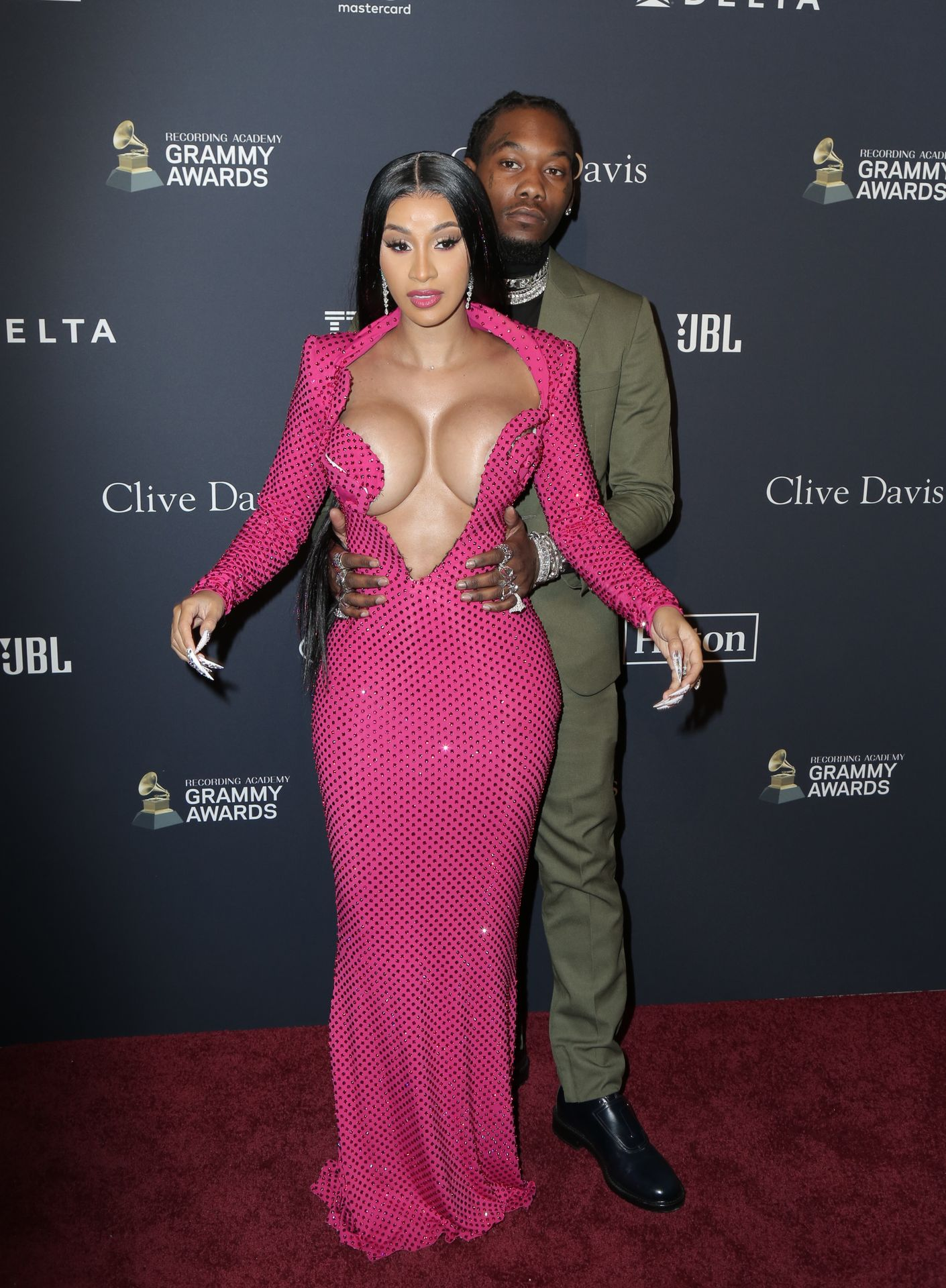 Offset Covers Cardi B's Boobs To Avoid Wardrobe Malfunction At Clive Davis Pre Grammy Party 0076