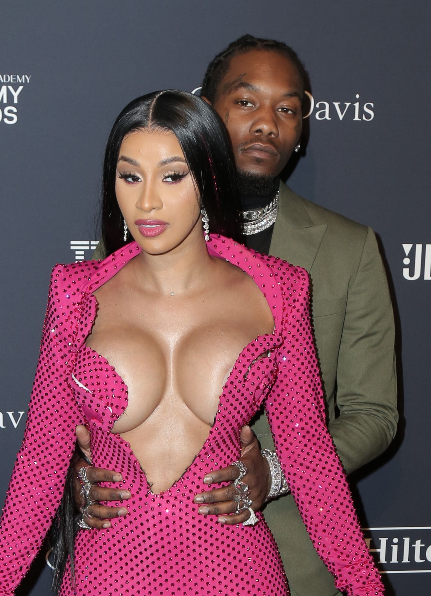 Offset Covers Cardi B's Boobs To Avoid Wardrobe Malfunction At Clive Davis Pre Grammy Party 0077