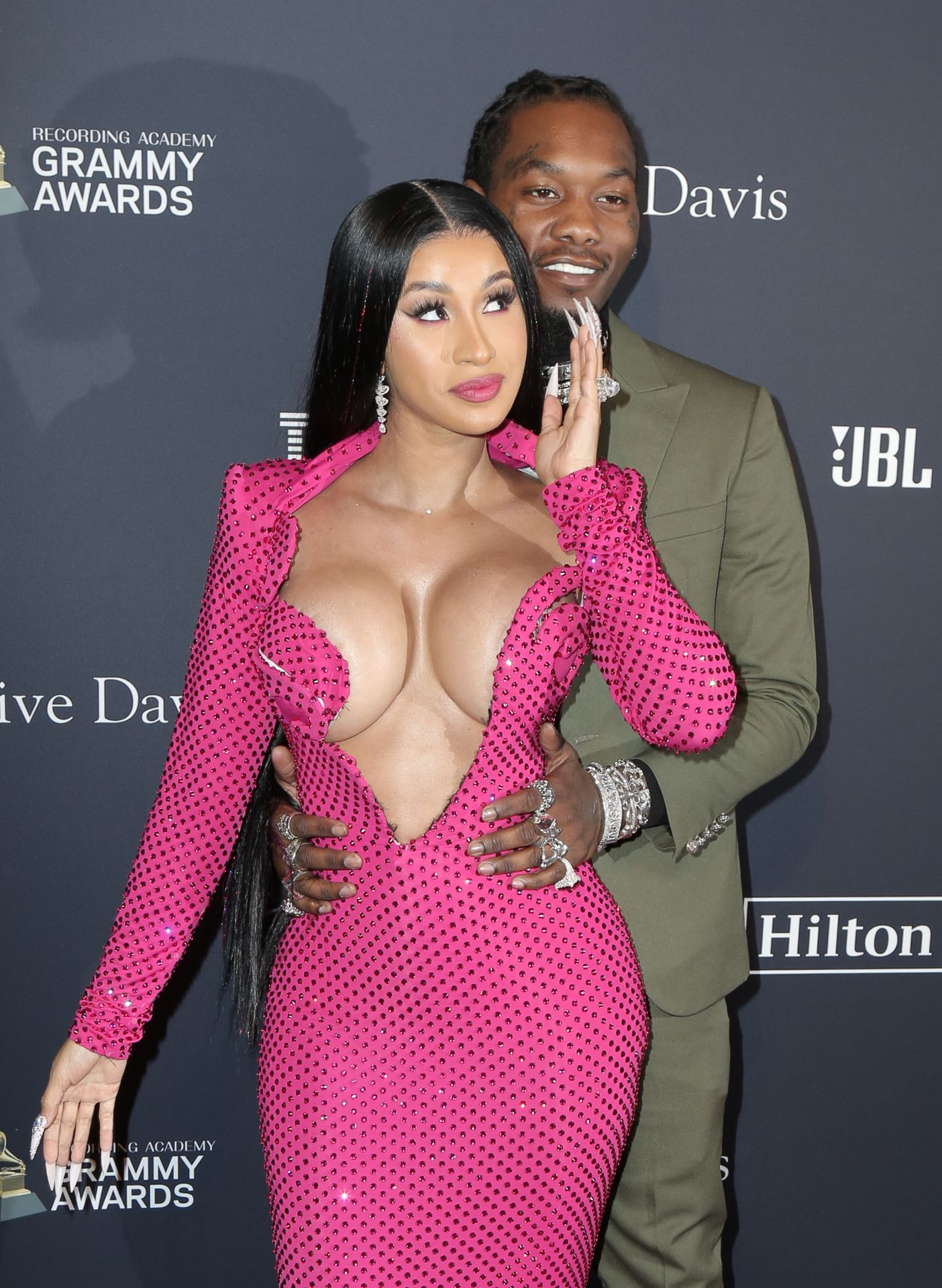 Offset Covers Cardi B's Boobs To Avoid Wardrobe Malfunction At Clive Davis Pre Grammy Party 0078