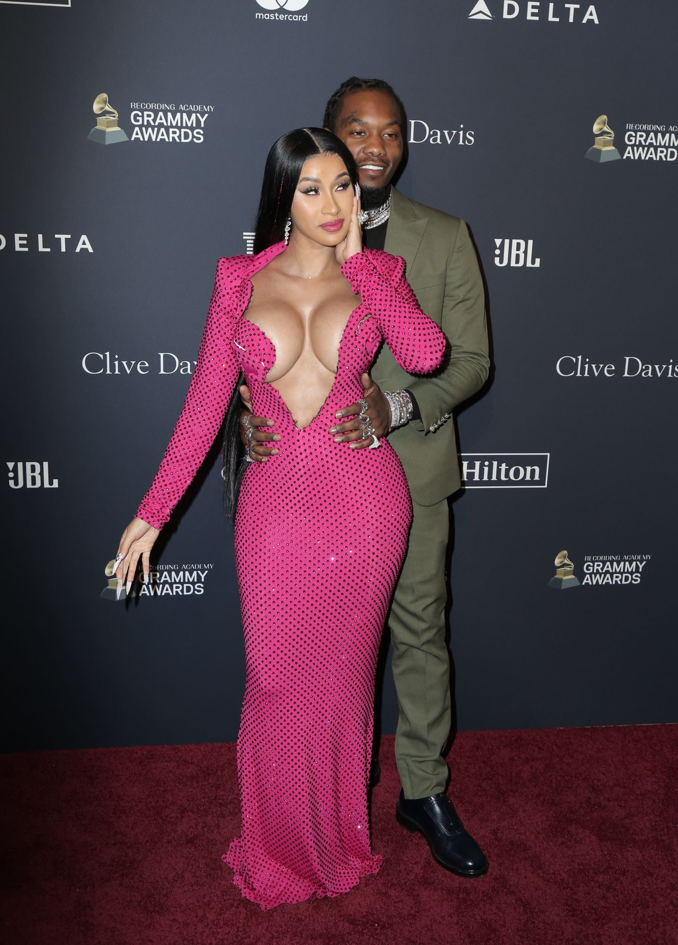 Offset Covers Cardi B's Boobs To Avoid Wardrobe Malfunction At Clive Davis Pre Grammy Party 0079