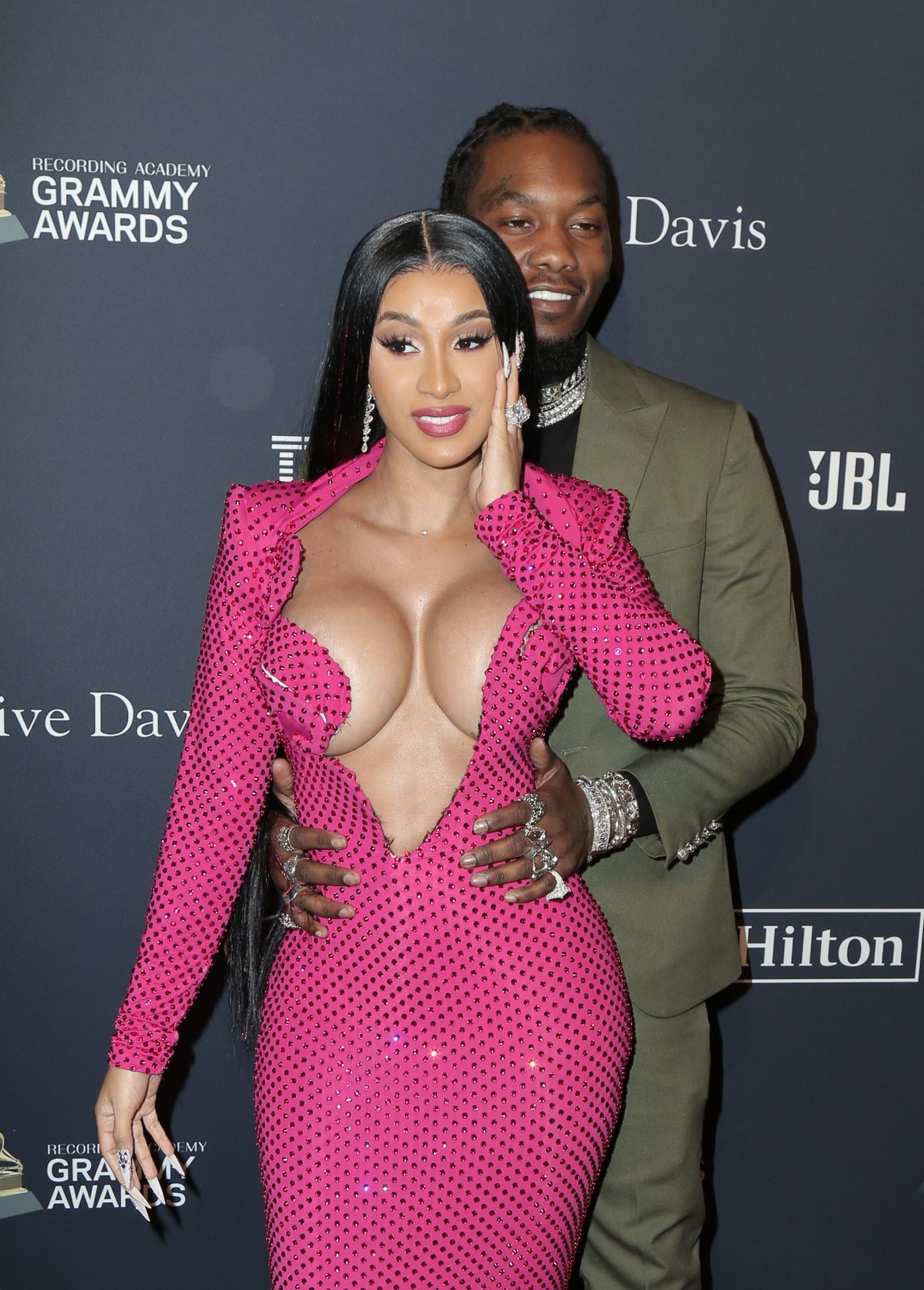 Offset Covers Cardi B's Boobs To Avoid Wardrobe Malfunction At Clive Davis Pre Grammy Party 0080