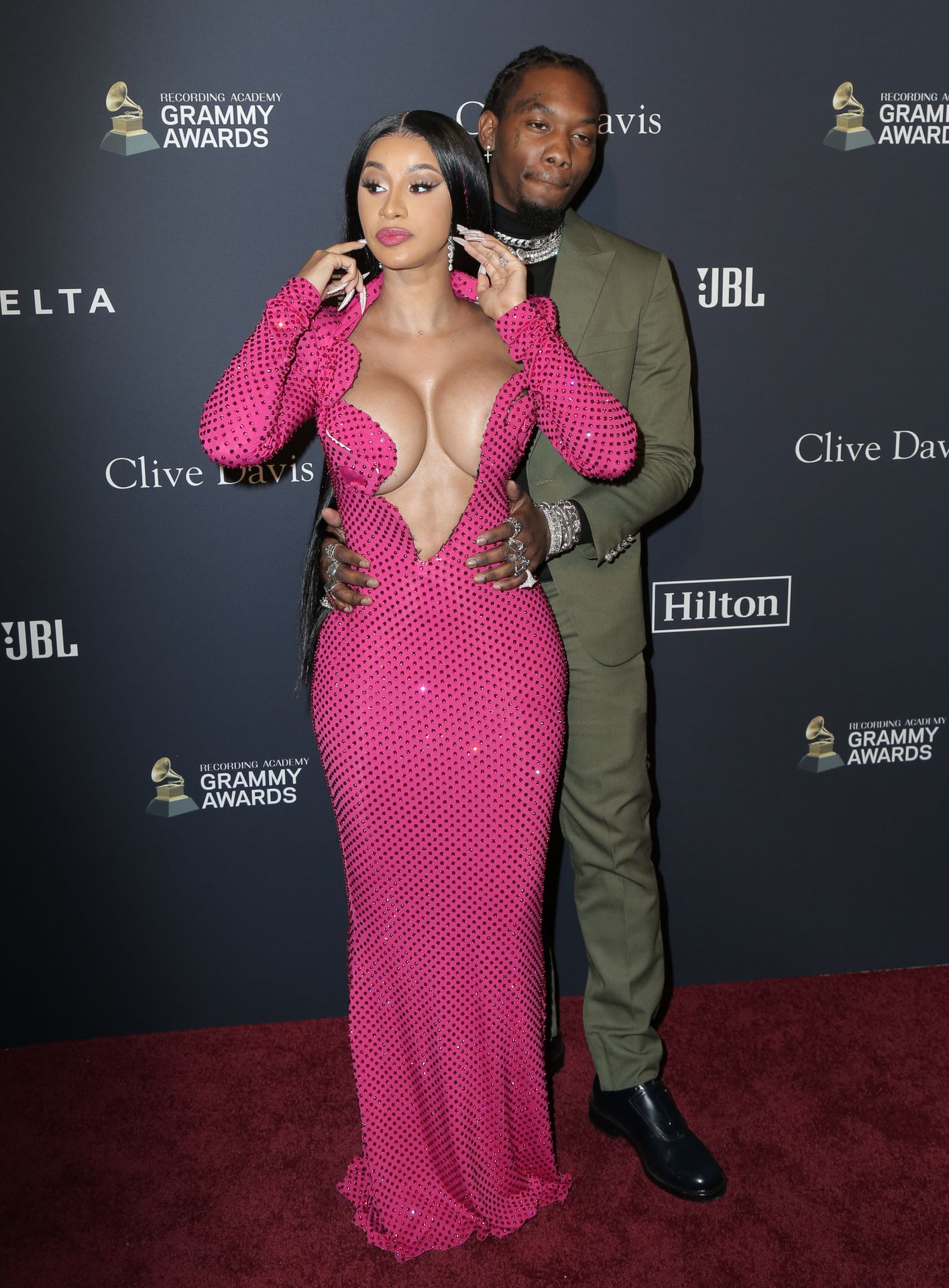 Offset Covers Cardi B's Boobs To Avoid Wardrobe Malfunction At Clive Davis Pre Grammy Party 0081