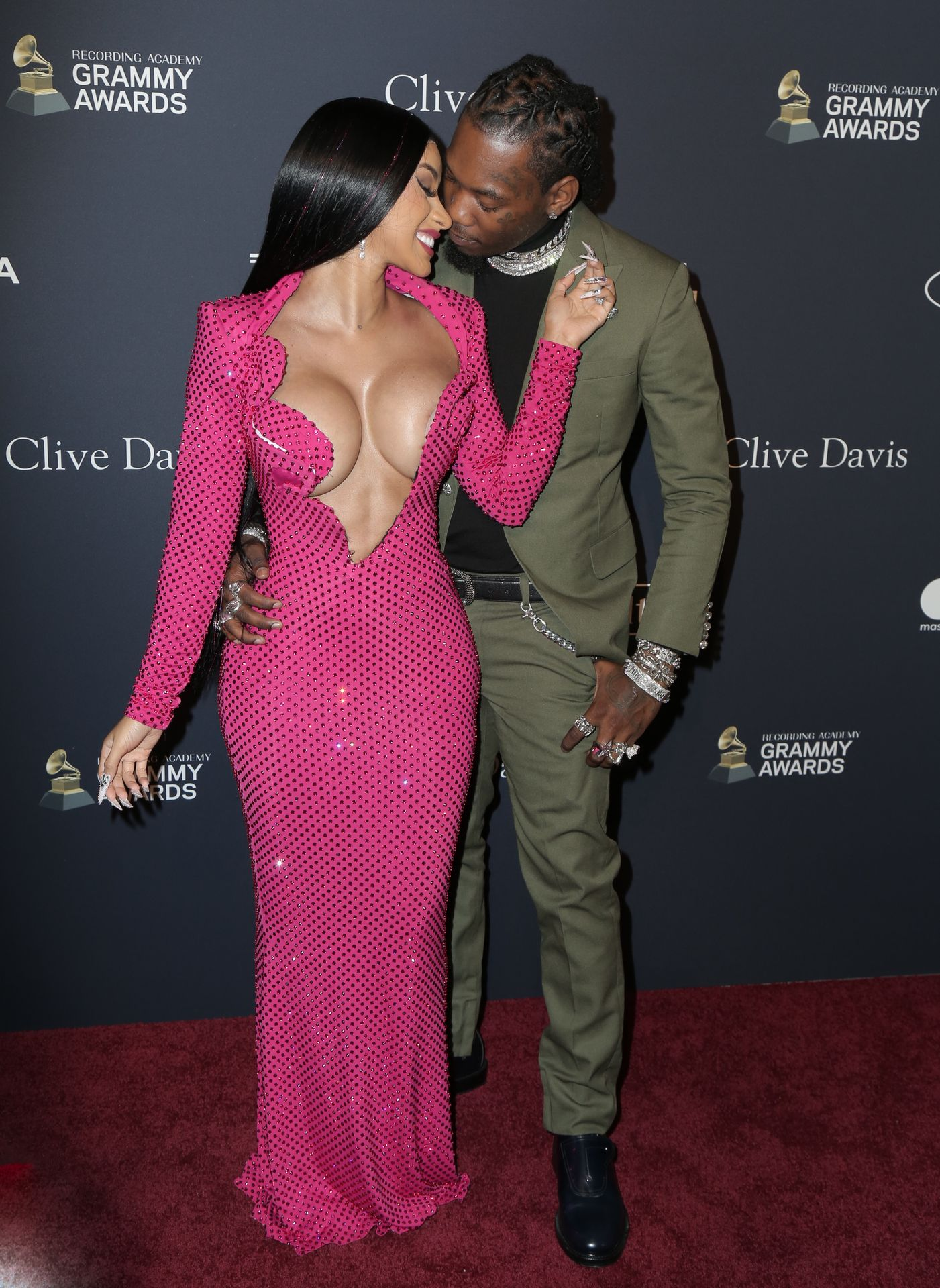 Offset Covers Cardi B's Boobs To Avoid Wardrobe Malfunction At Clive Davis Pre Grammy Party 0086