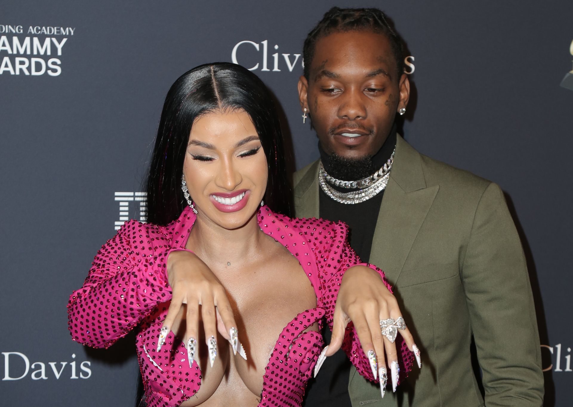 Offset Covers Cardi B's Boobs To Avoid Wardrobe Malfunction At Clive Davis Pre Grammy Party 0090